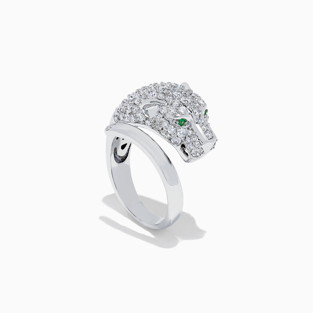 Effy Signature 14K White Gold Diamond Panther Ring, 1.91 TCW