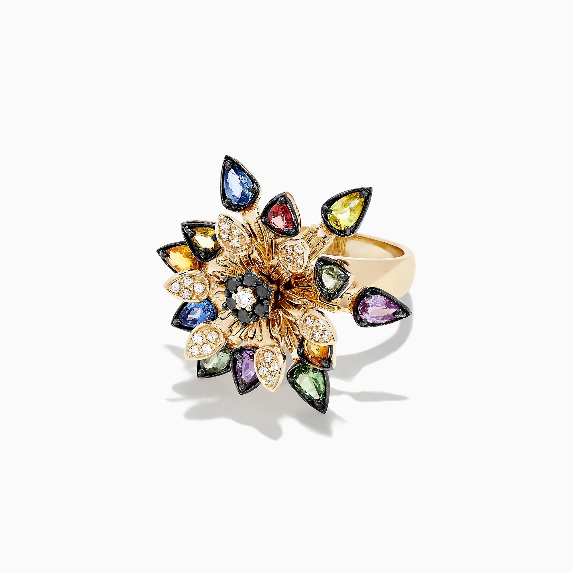 Effy Watercolors Multi Sapphire & Diamond Moving Petals Flower Ring, 3.44 TCW