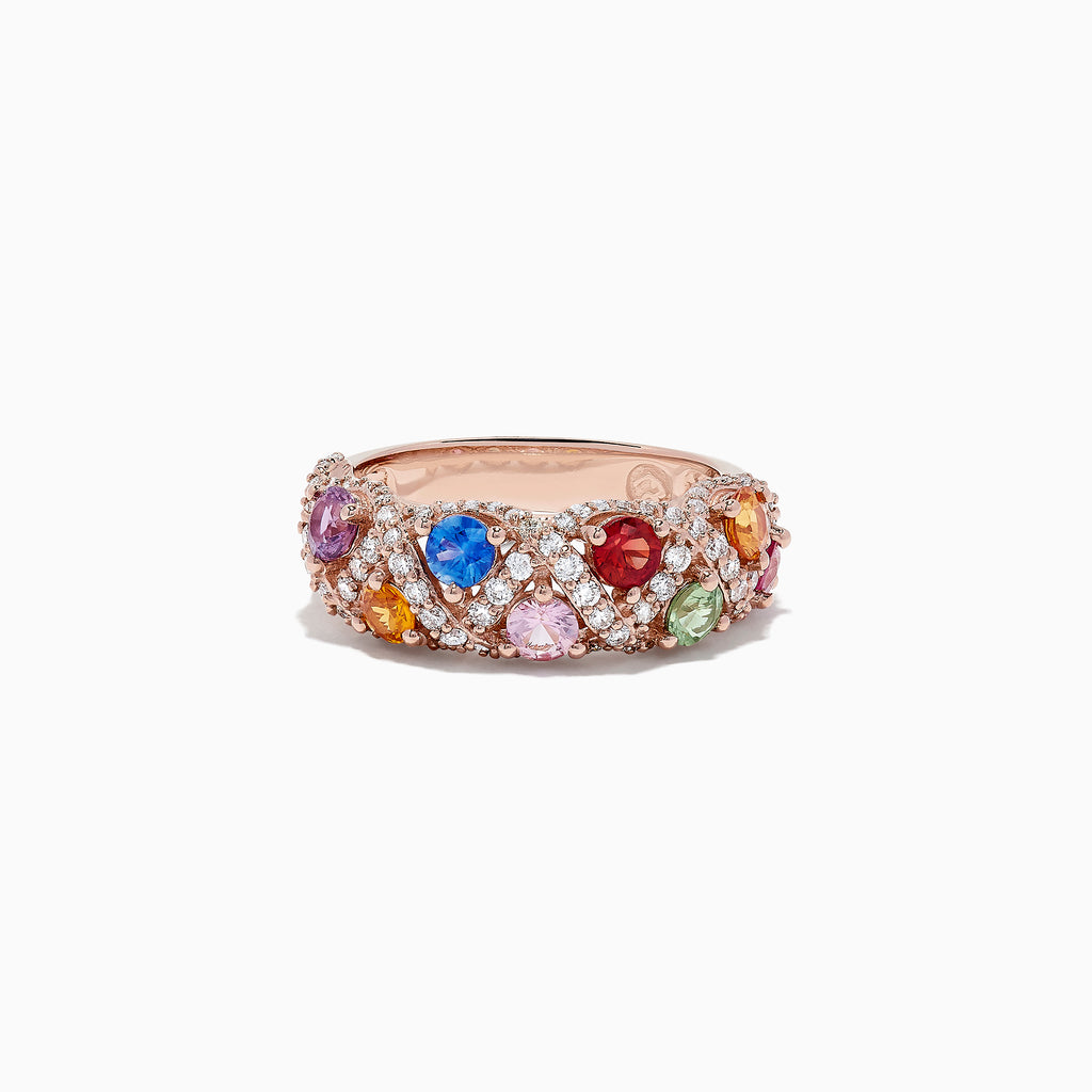 Effy Watercolors 14K Rose Gold Multi Sapphire and Diamond Ring, 2.06 TCW