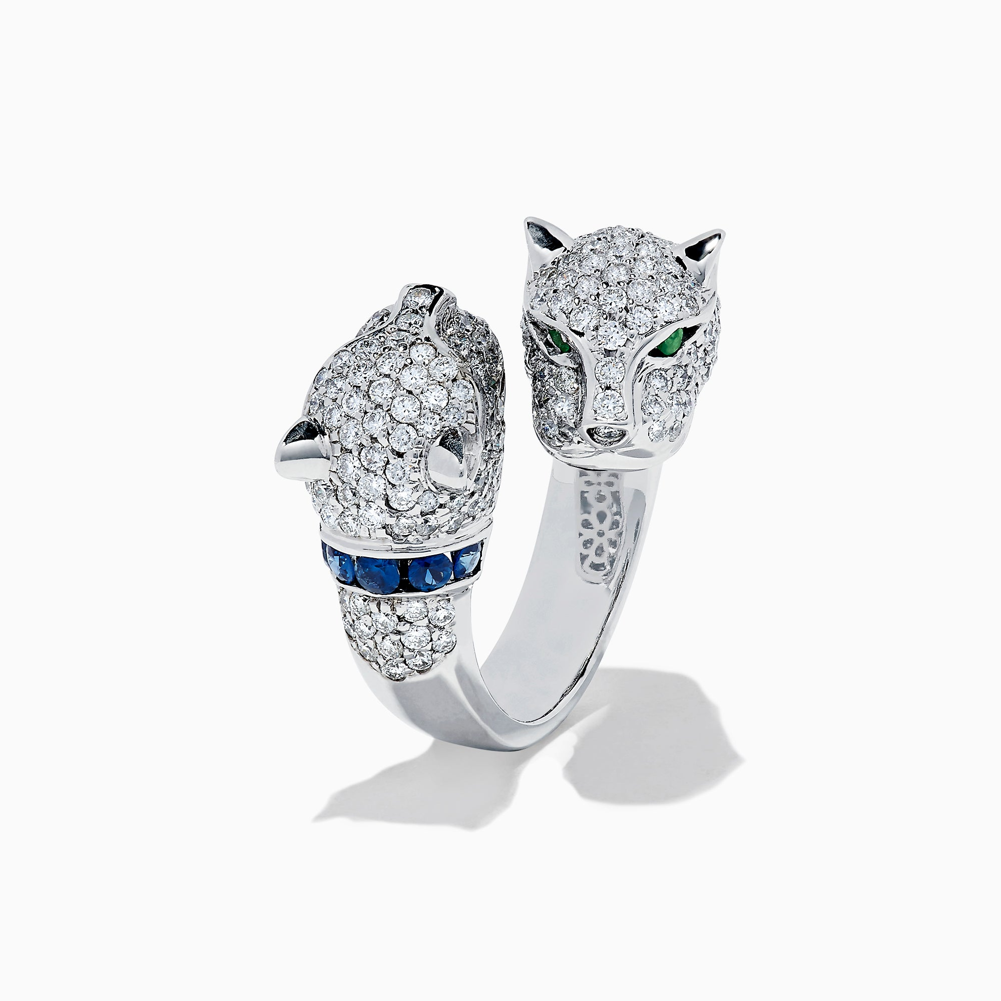 Effy Signature 14K White Gold Diamond Double Panther Head Ring, 2.24 TCW