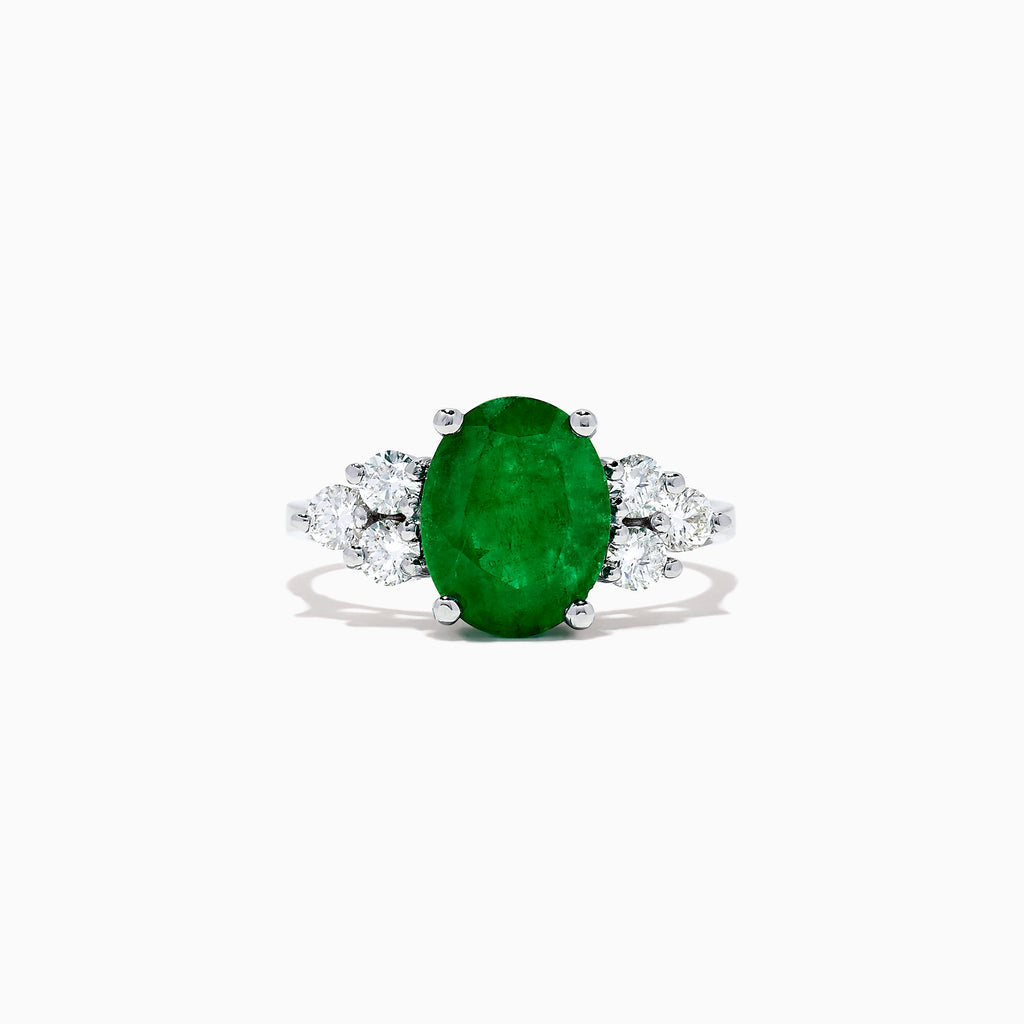 Effy Brasilica 14K White Gold Emerald and Diamond Ring, 2.85 TCW