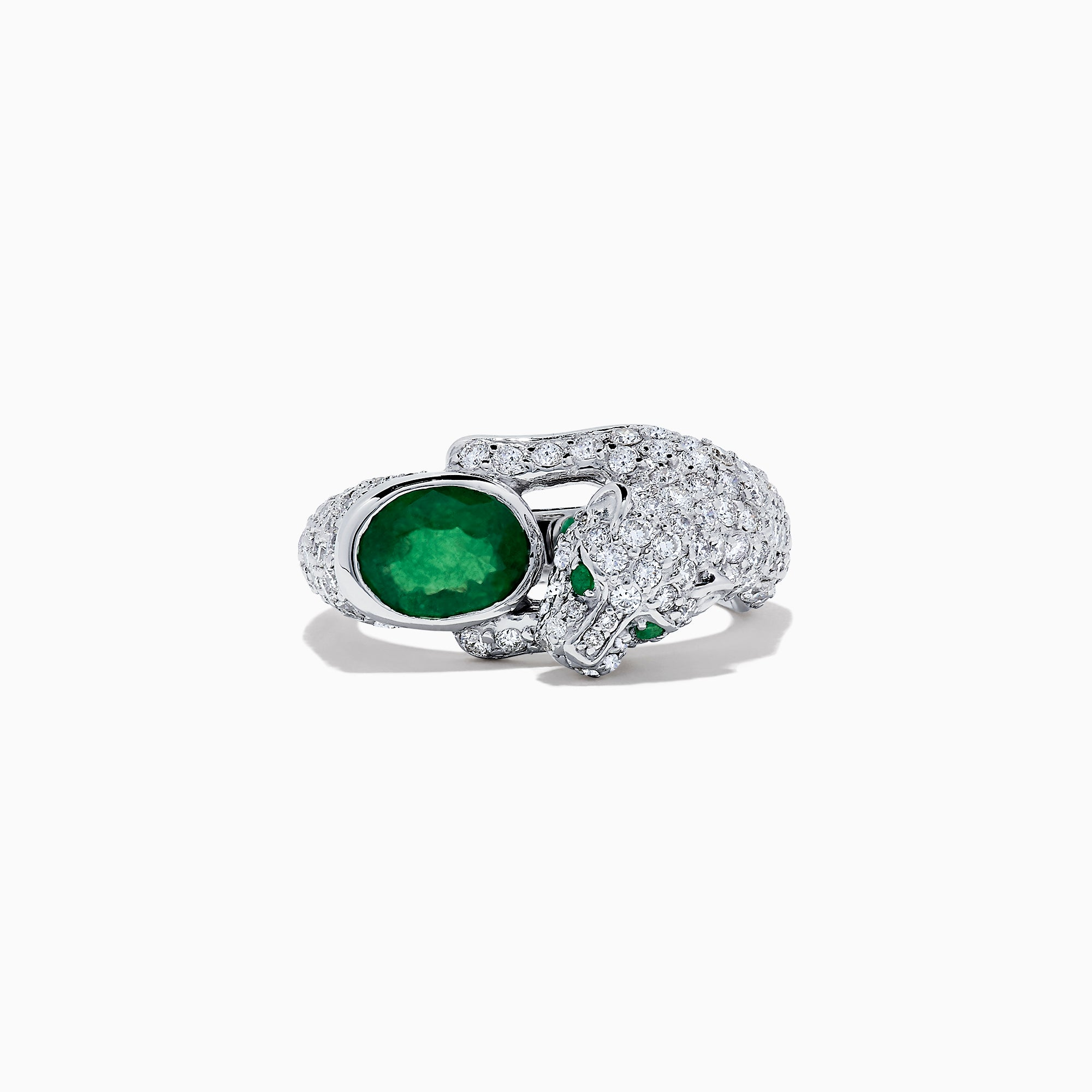 Effy Signature 14K White Gold Emerald and Diamond Panther Ring, 3.70 TCW
