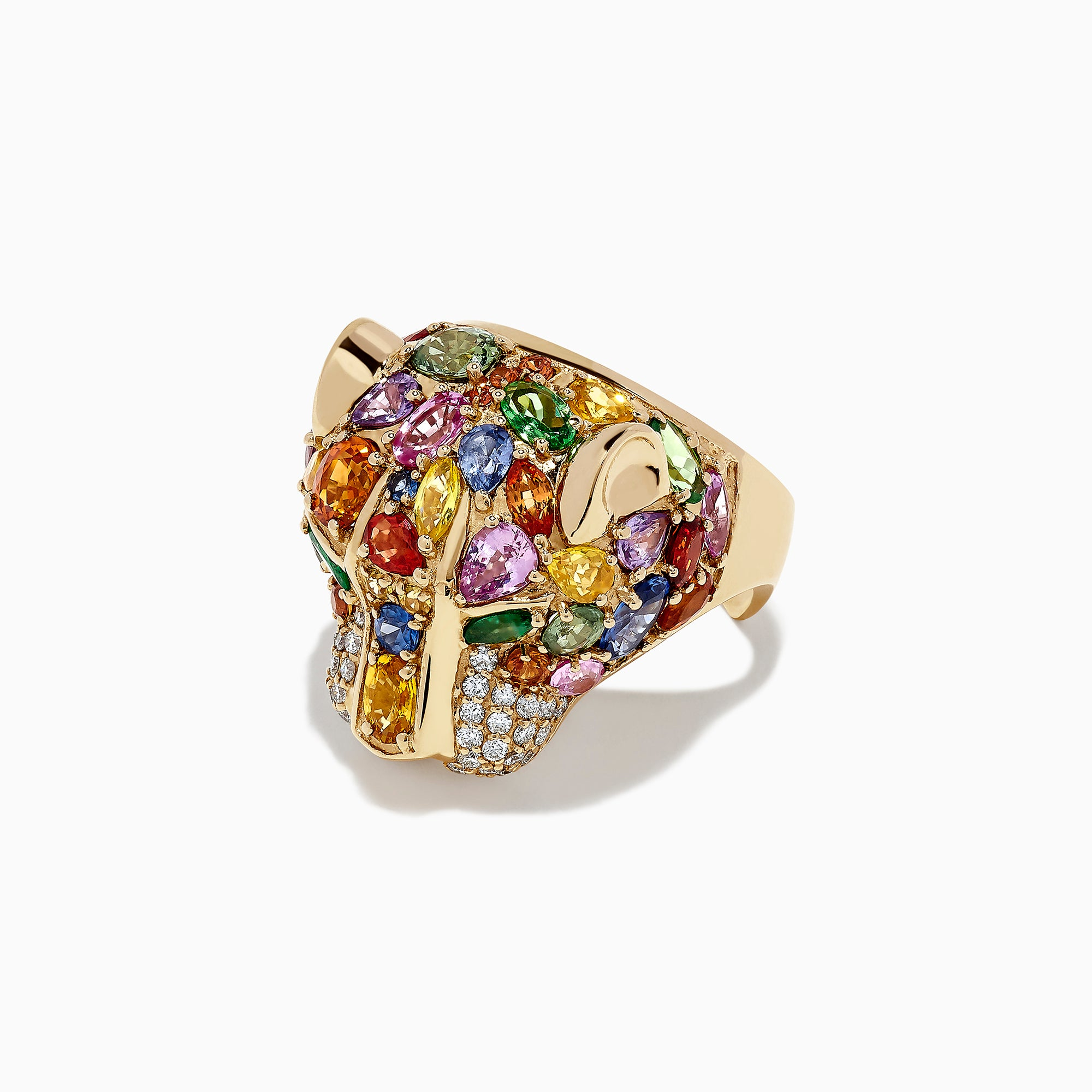 Effy Watercolors 14K Gold Multi Sapphire, Diamond & Emerald Panther Ring