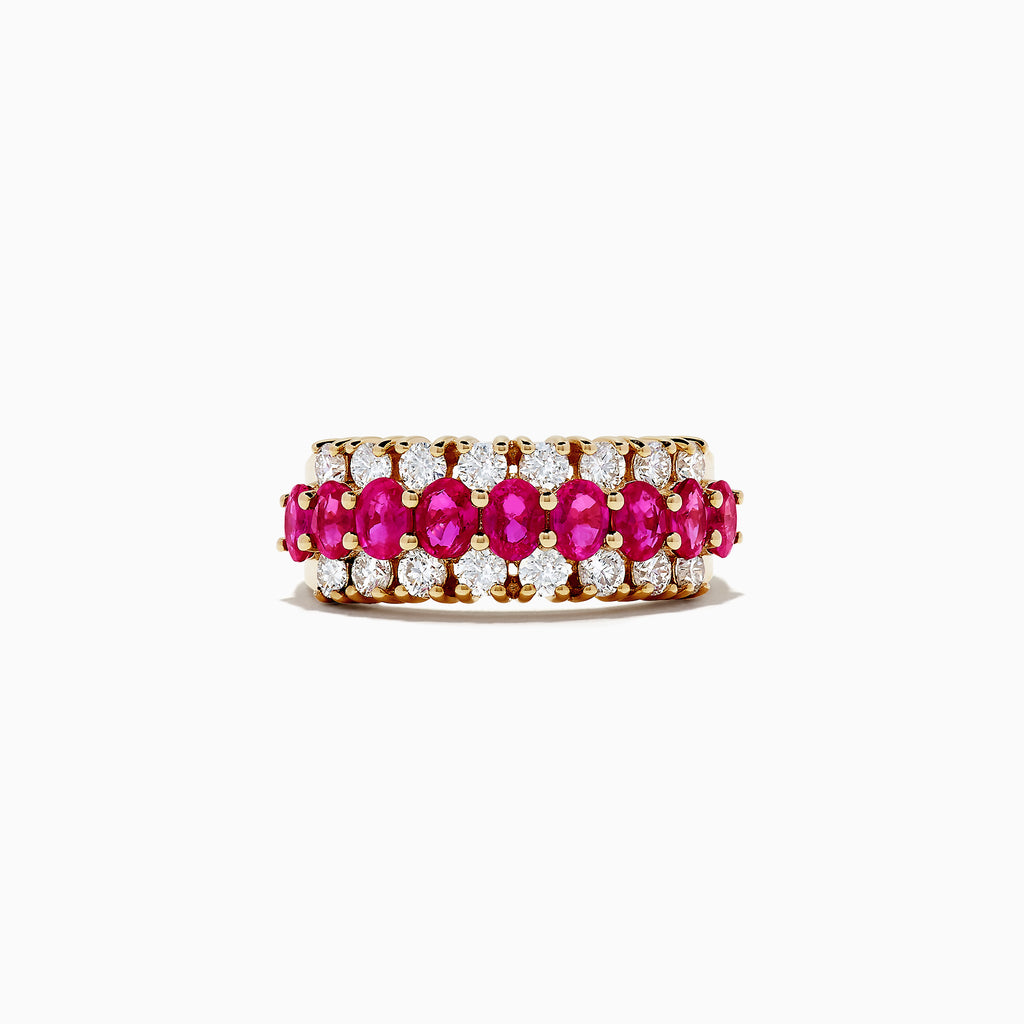 Effy Ruby Royale 14K Yellow Gold Ruby and Diamond Ring, 3.08 TCW