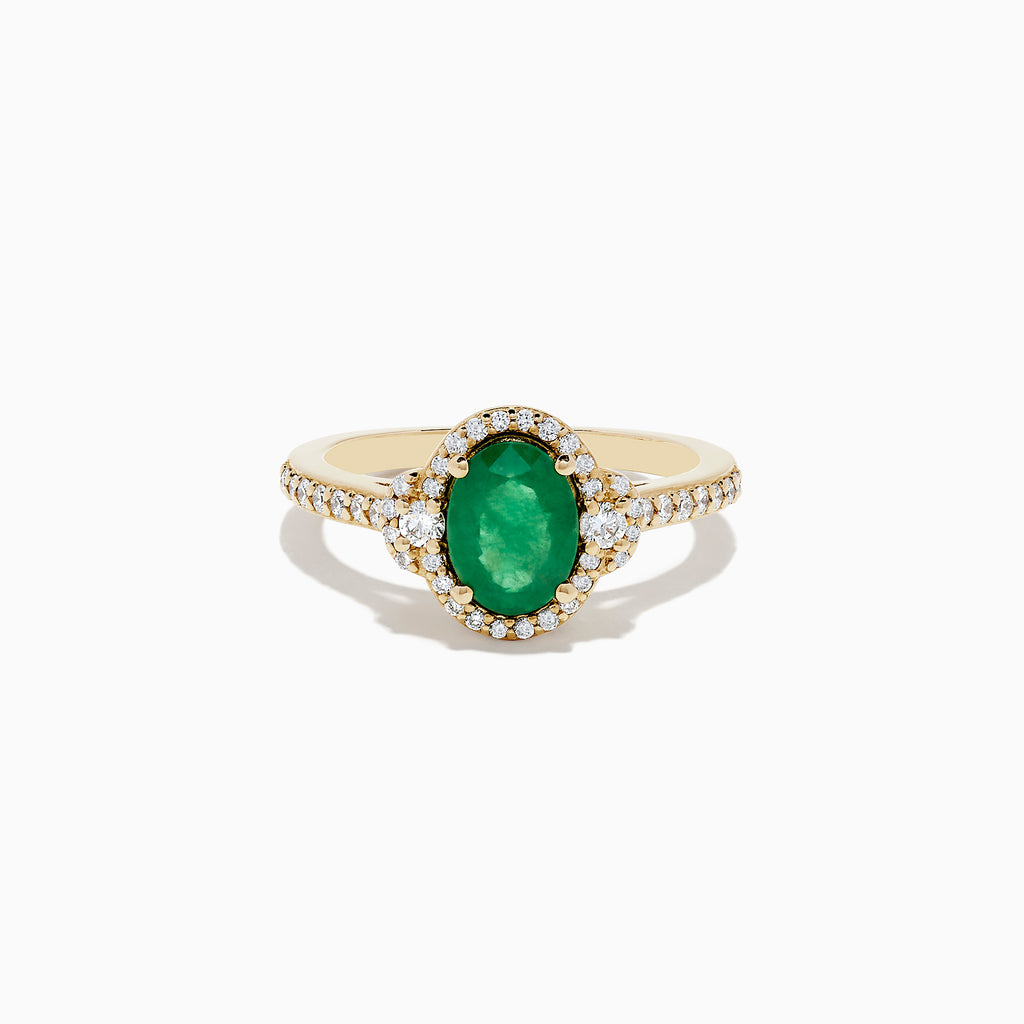 Effy Brasilica 14K Yellow Gold Emerald and Diamond Ring, 1.55 TCW