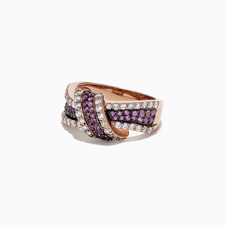 Effy 14K Rose Gold Diamond and Pink Sapphire Knot Ring, 1.22 TCW