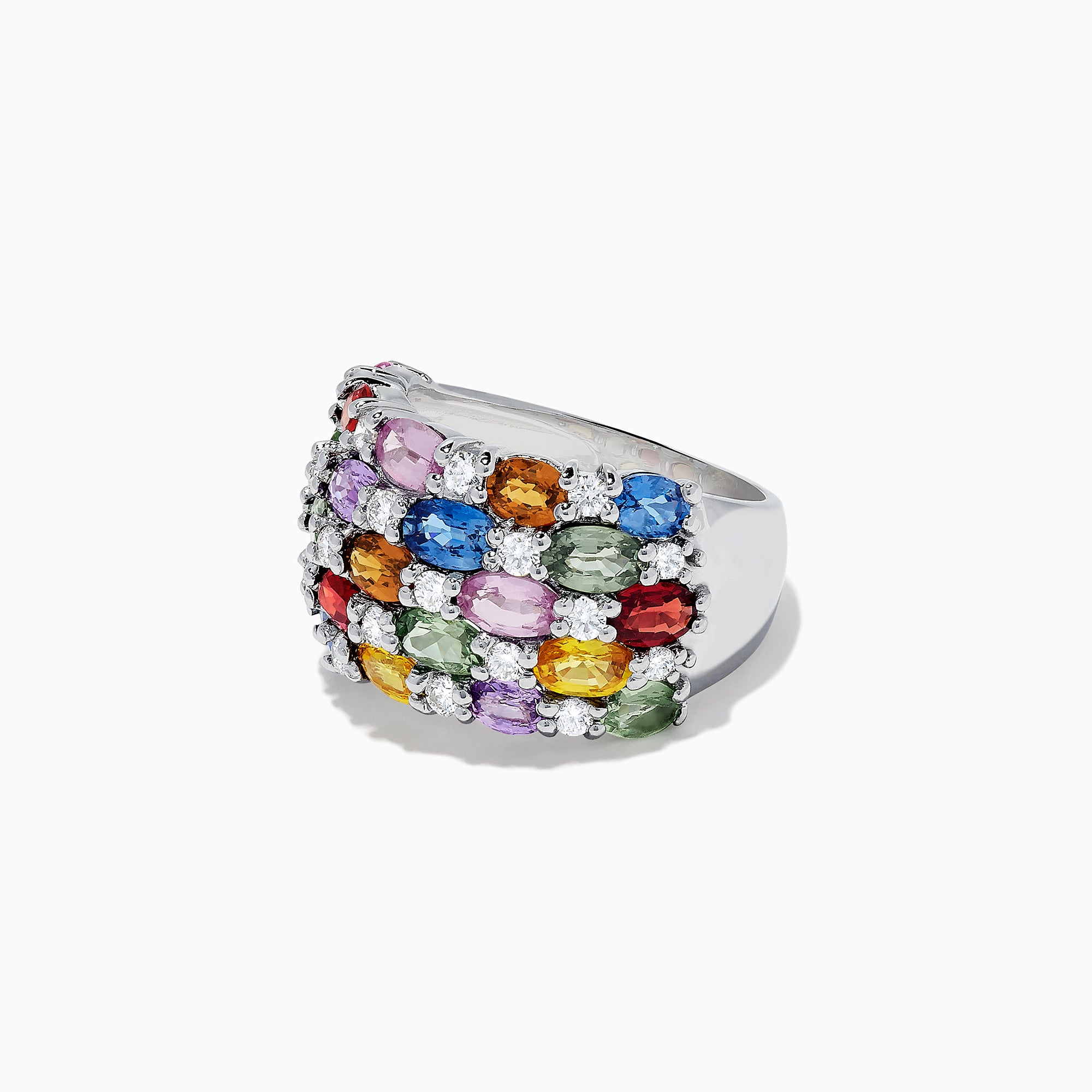 Effy Watercolors 14K White Gold Multi Sapphire and Diamond Ring, 7.21 TCW