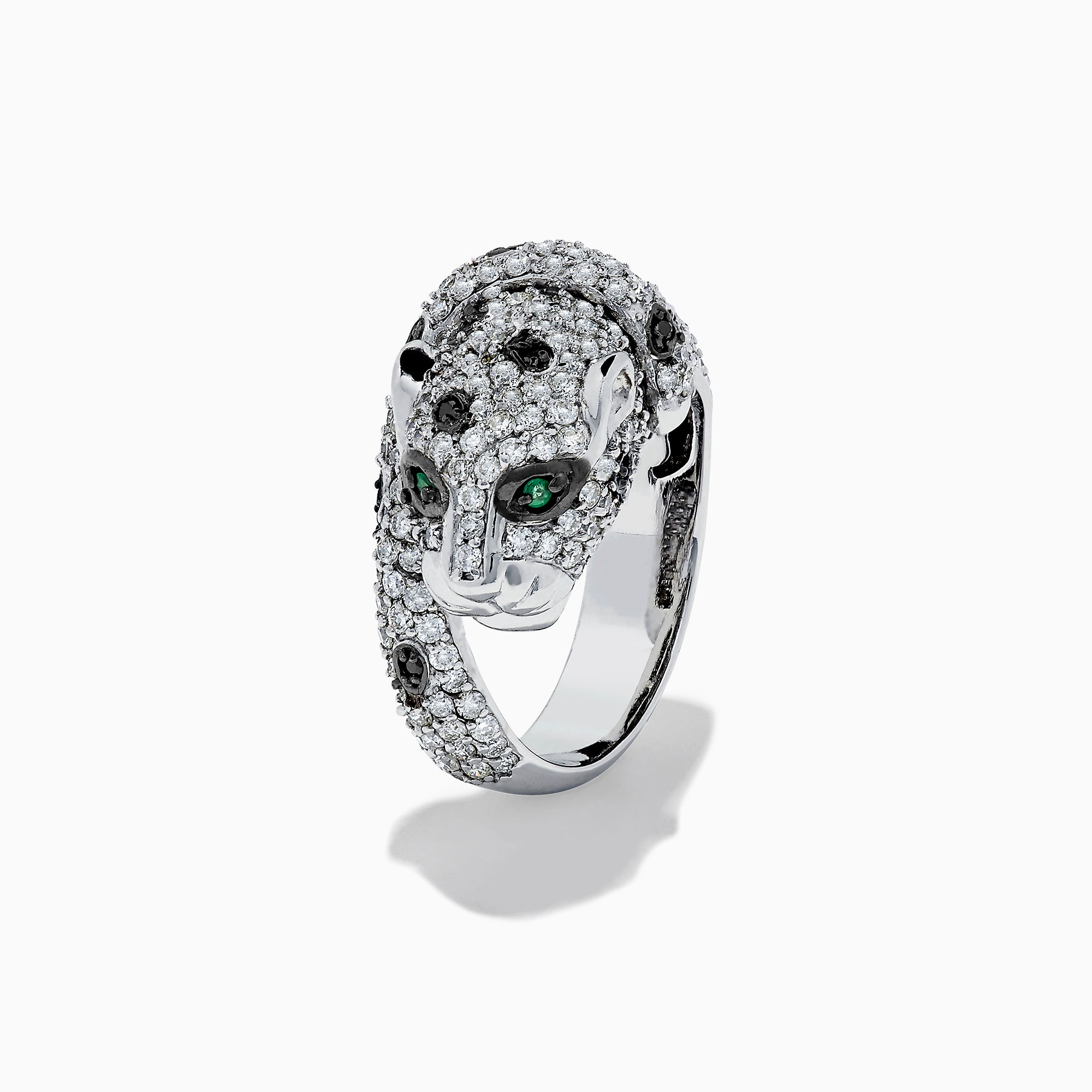 Effy Signature 14K White Gold Diamond Panther Ring, 2.09 TCW