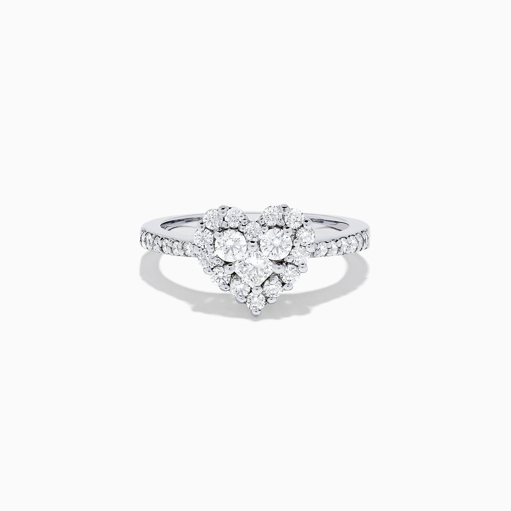 Effy Bouquet 14K White Gold Diamond Heart Ring, 0.84 TCW