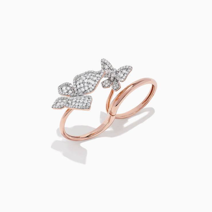 Effy Nature 14K Rose Gold Diamond Single or Double Finger Butterfly Ring, 1.18 TCW