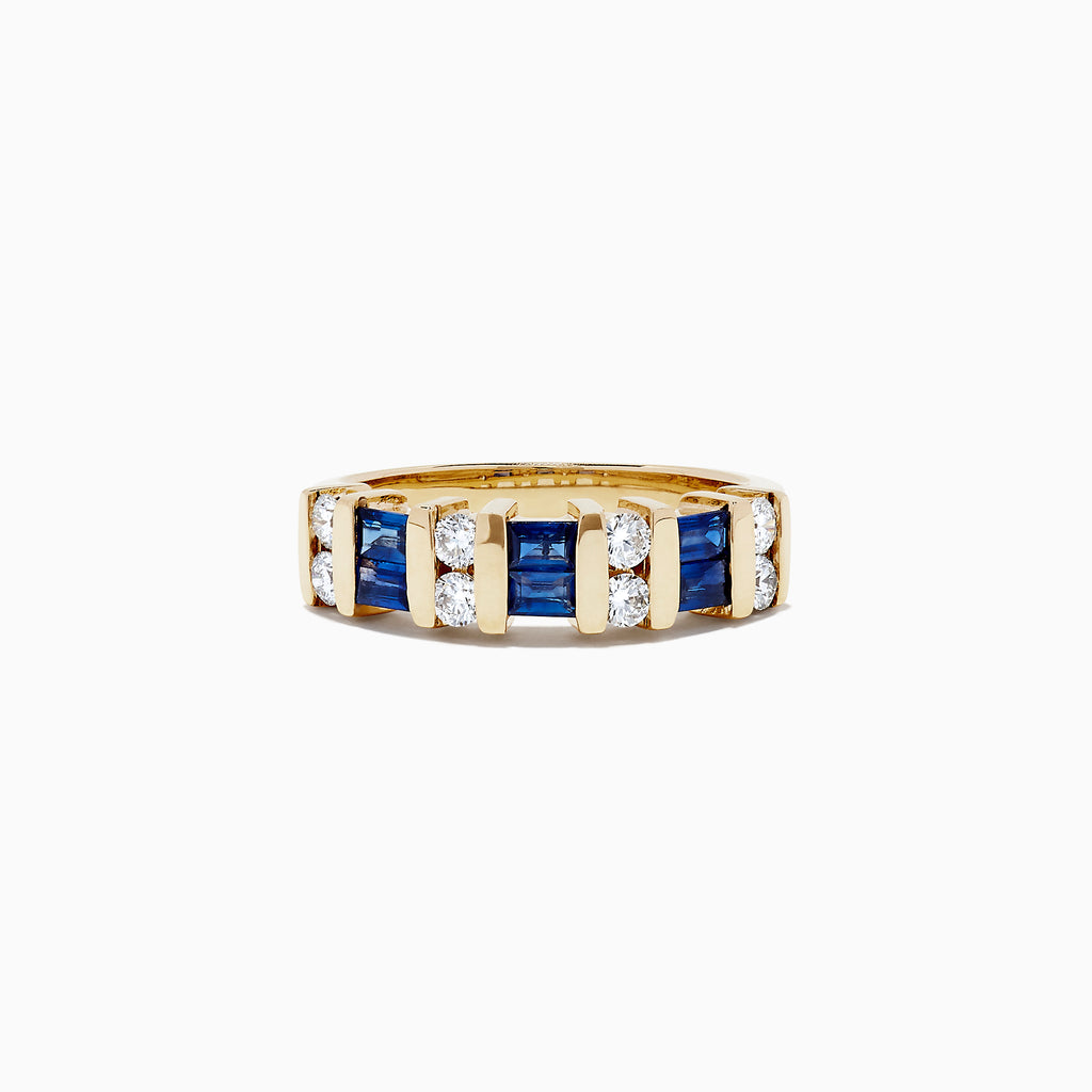 Effy Royale Bleu 14K Yellow Gold Sapphire and Diamond Ring, 0.96 TCW