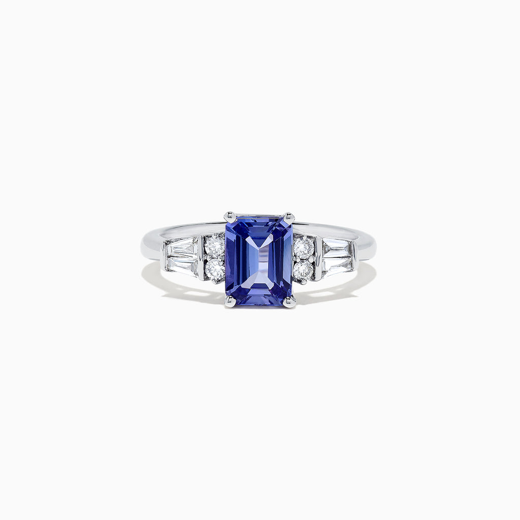 Effy Tanzanite Royale 14K White Gold Tanzanite and Diamond Ring, 1.51 TCW