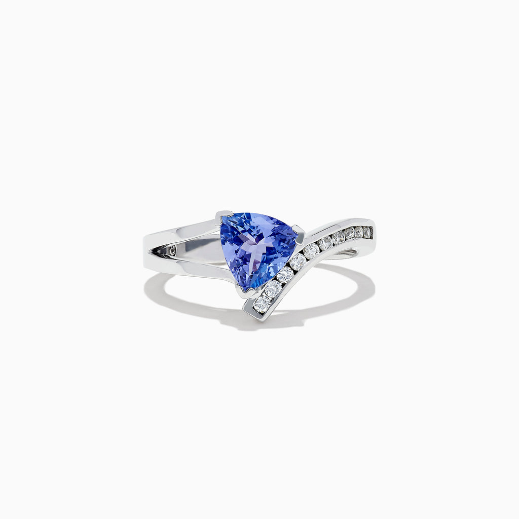 Effy Tanzanite Royale 14K White Gold Tanzanite and Diamond Ring, 1.24 TCW