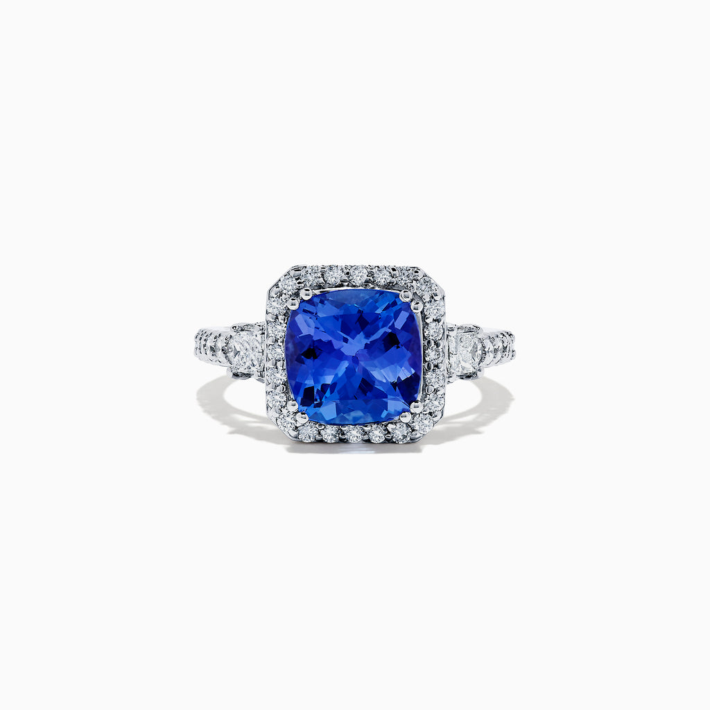 Effy Tanzanite Royale 14K White Gold Tanzanite and Diamond Ring, 3.68 TCW
