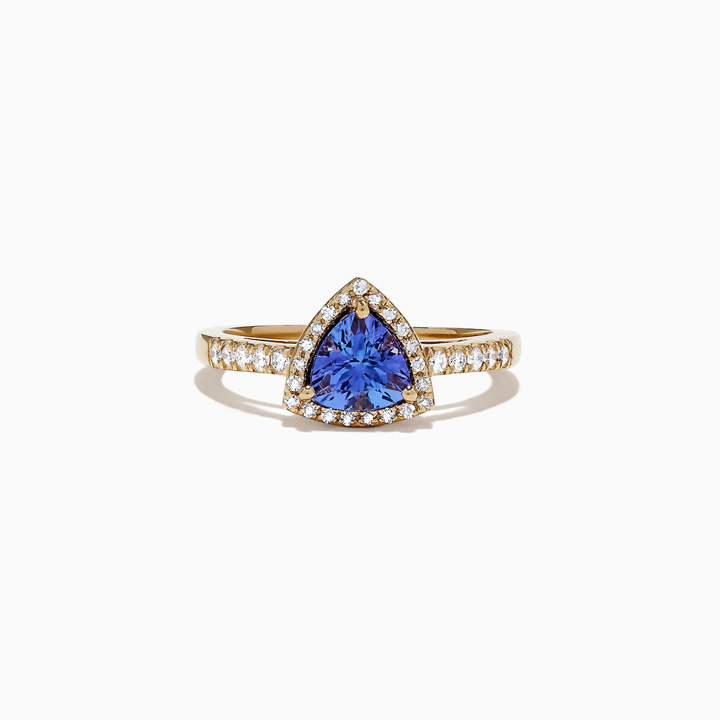 Effy Tanzanite Royale 14K Yellow Gold Tanzanite and Diamond Ring, 0.96 TCW