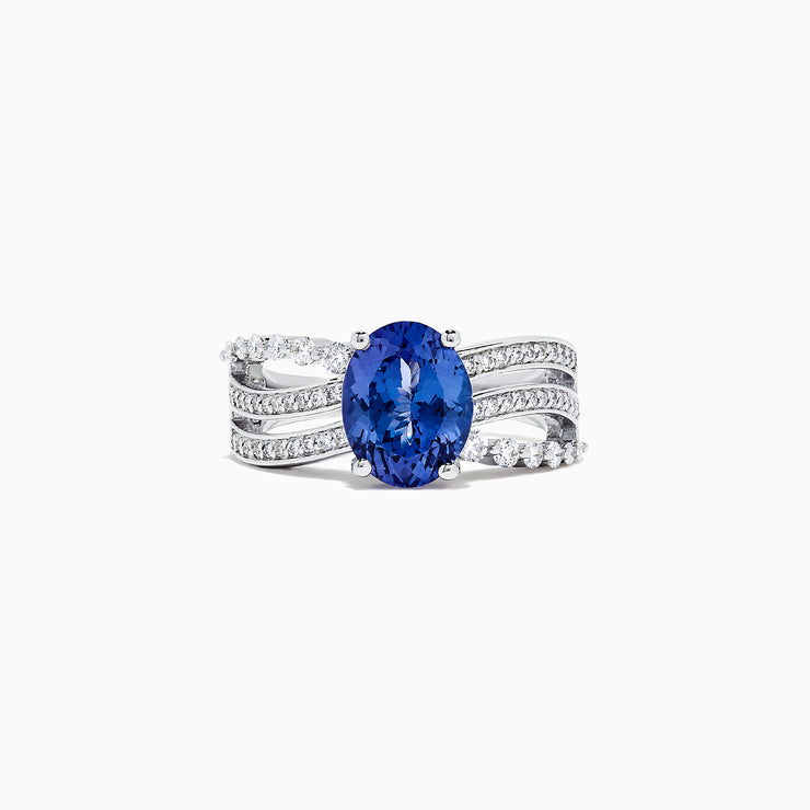 Effy Tanzanite Royale 14K White Gold Tanzanite and Diamond Ring. 2.97 TCW