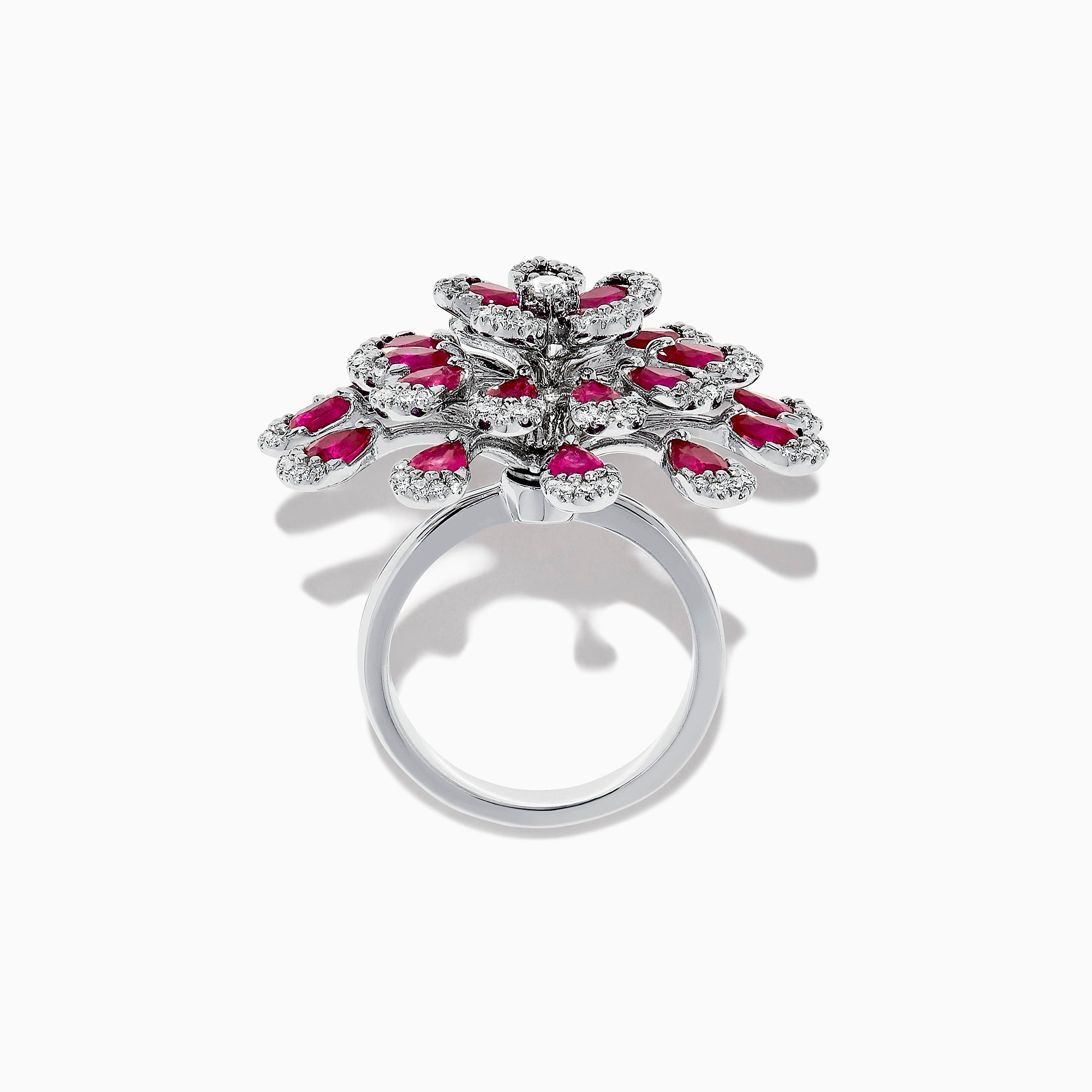 Effy Ruby Royale 14K White Gold Ruby and Diamond Flower Ring, 6.70 TCW