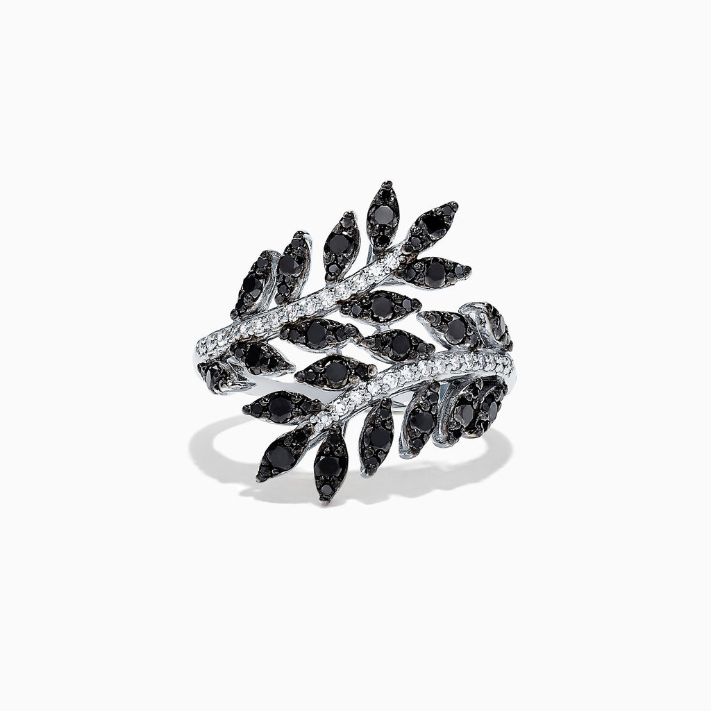 Effy 14K White Gold Black and White Diamond Wrapped Leaf Ring, 0.92 TCW
