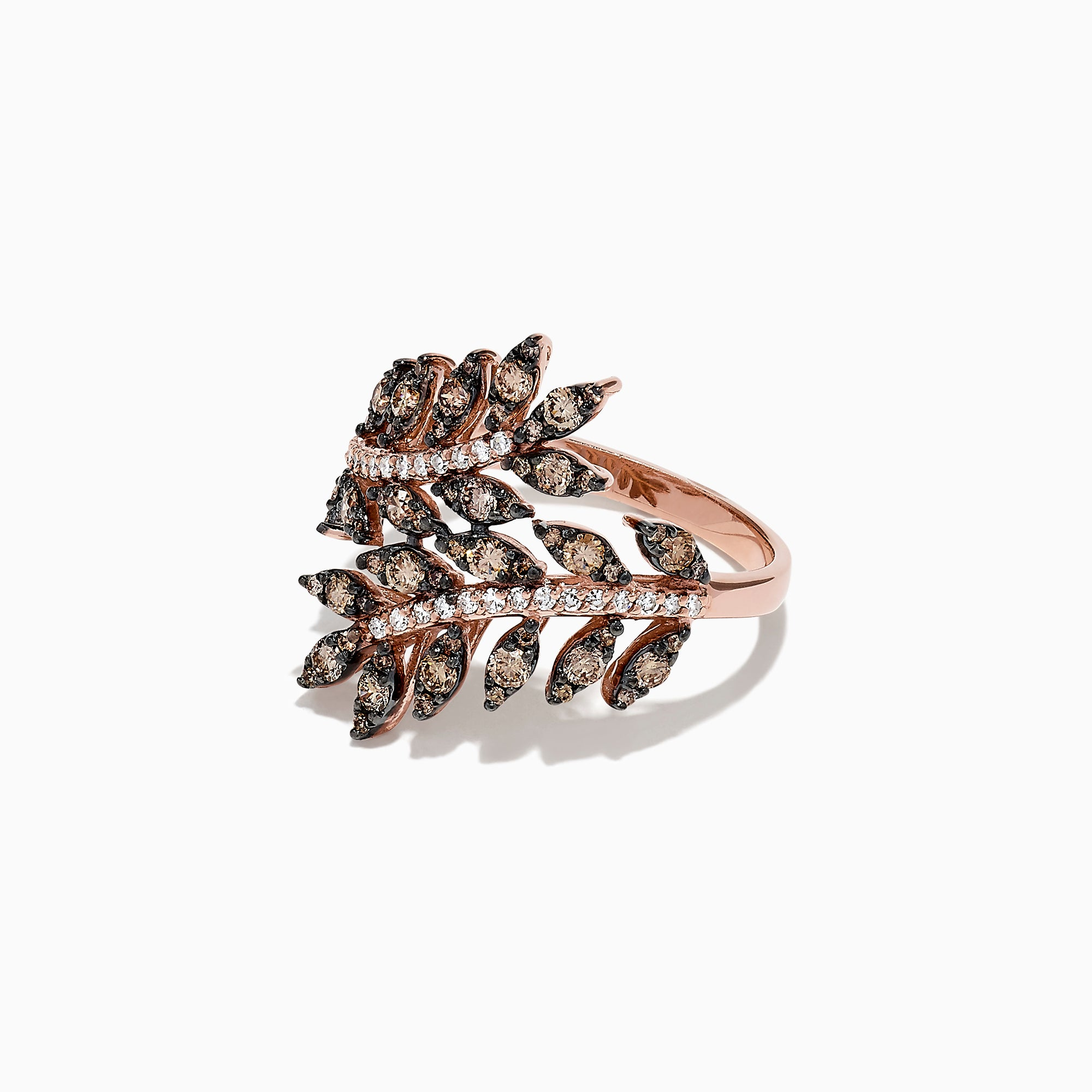 Effy 14K Rose Gold Espresso and White Diamond Wrapped Leaf Ring, 0.92 TCW