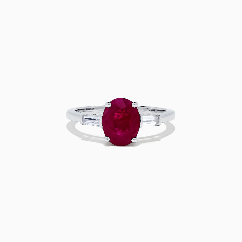 Effy Ruby Royale 14 Karat White Gold Ruby and Diamond Ring, 2.16 TCW