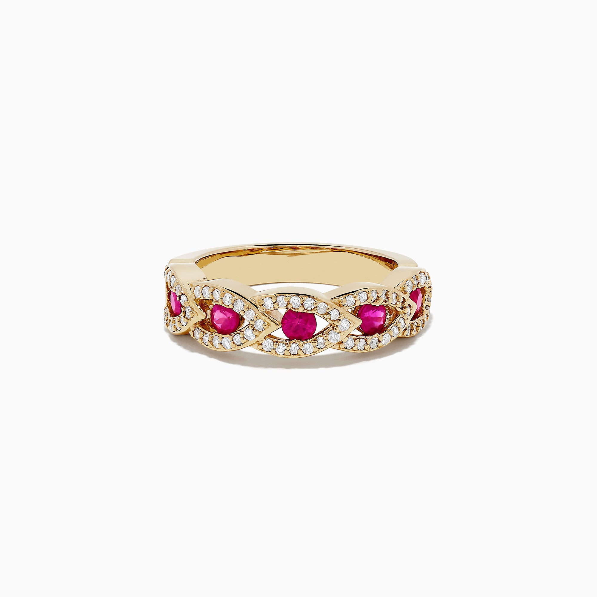 Effy 14K Yellow Gold Ruby and Diamond Ring, 0.99 TCW