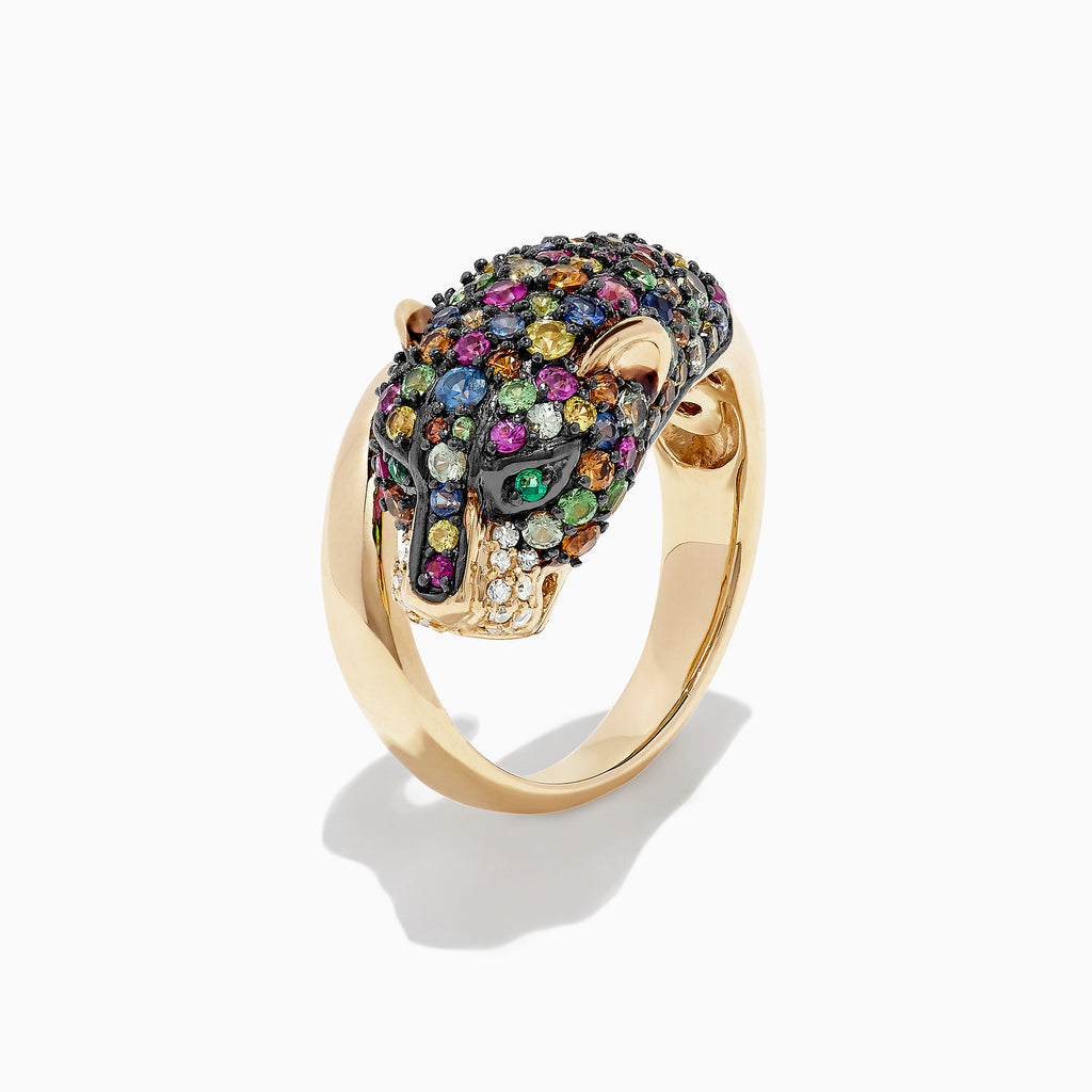 Effy Signature 14K Gold Multi Sapphire and Diamond Panther Ring, 2.72 TCW