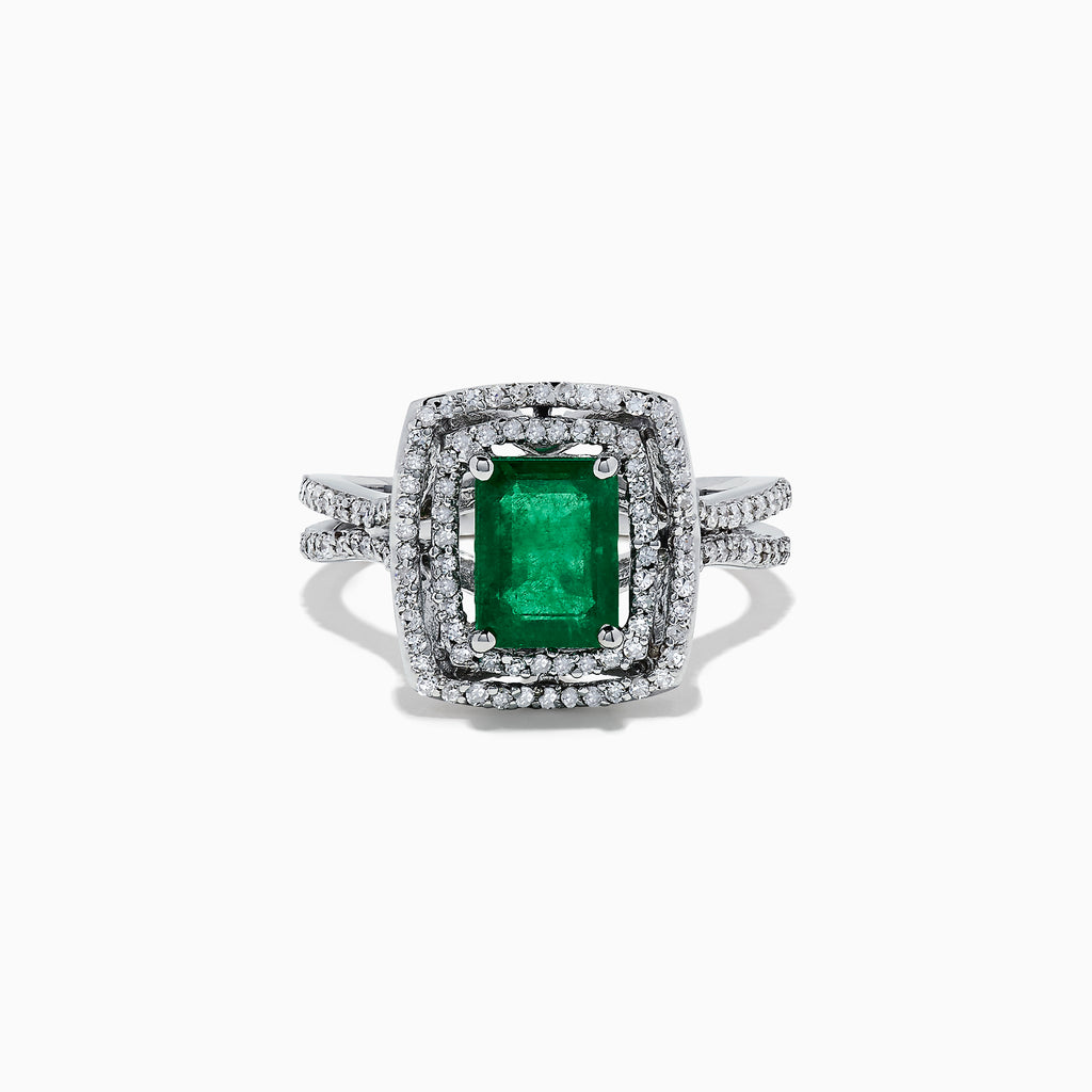 Effy Brasilica 14K White Gold Emerald and Diamond Ring, 2.02 TCW