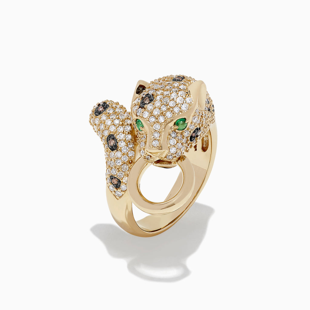 Effy Signature 14K Yellow Gold Diamond and Emerald Panther Ring, 1.34 TCW