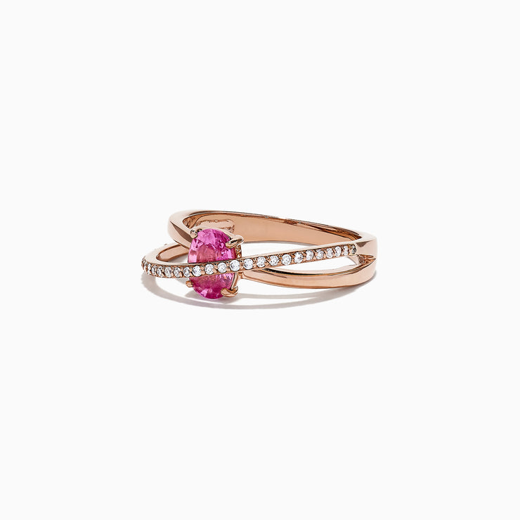 Effy 14K Rose Gold Pink Sapphire and Diamond Cross Over Ring, 1.10 TCW