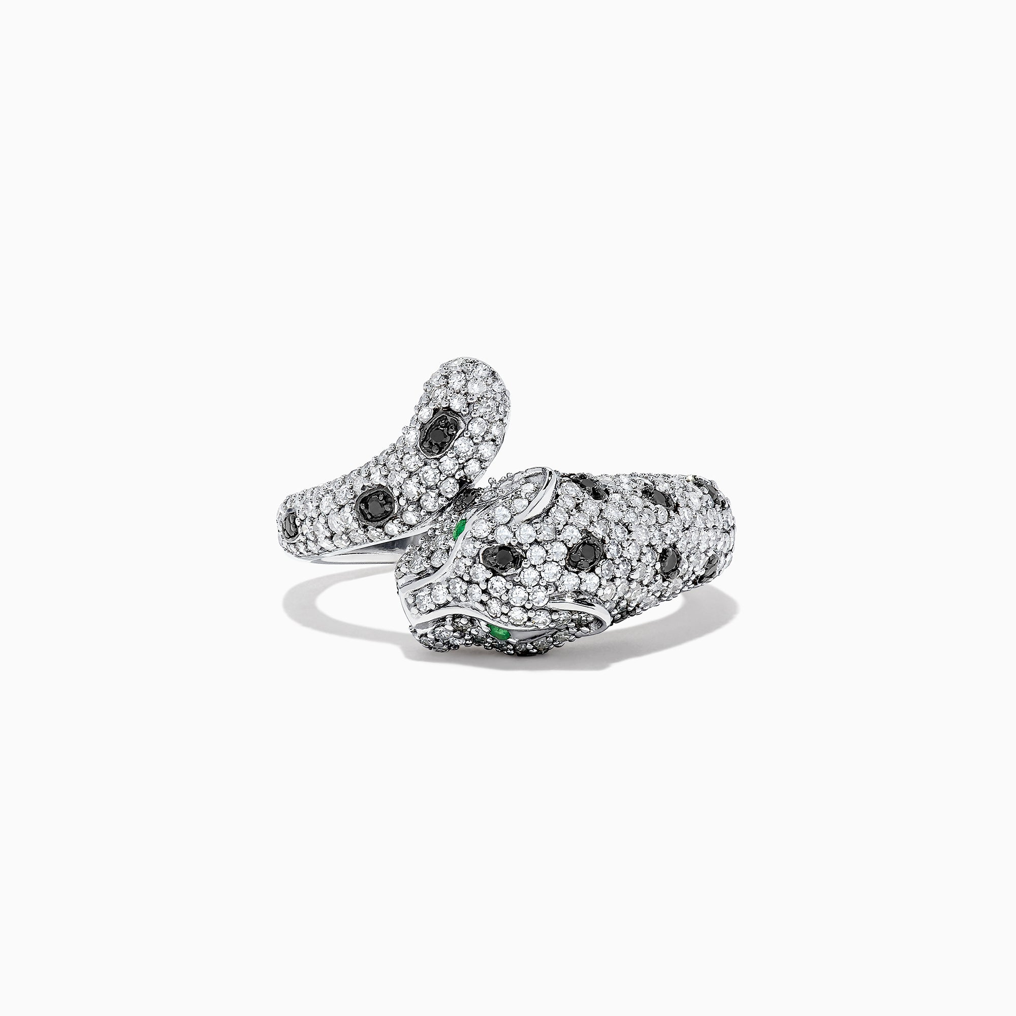 Effy Signature 14K White Gold Diamond & Emerald Panther Ring, 0.95 TCW