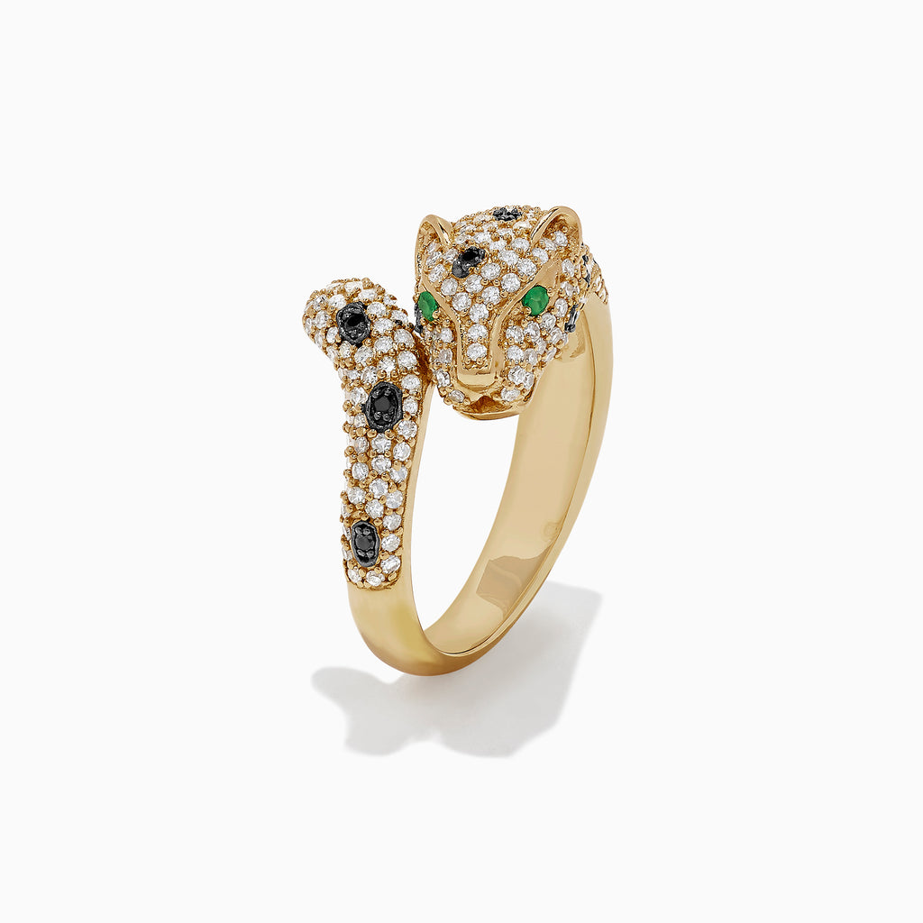 Effy Signature 14K Yellow Gold Diamond & Emerald Panther Ring, 0.92 TCW