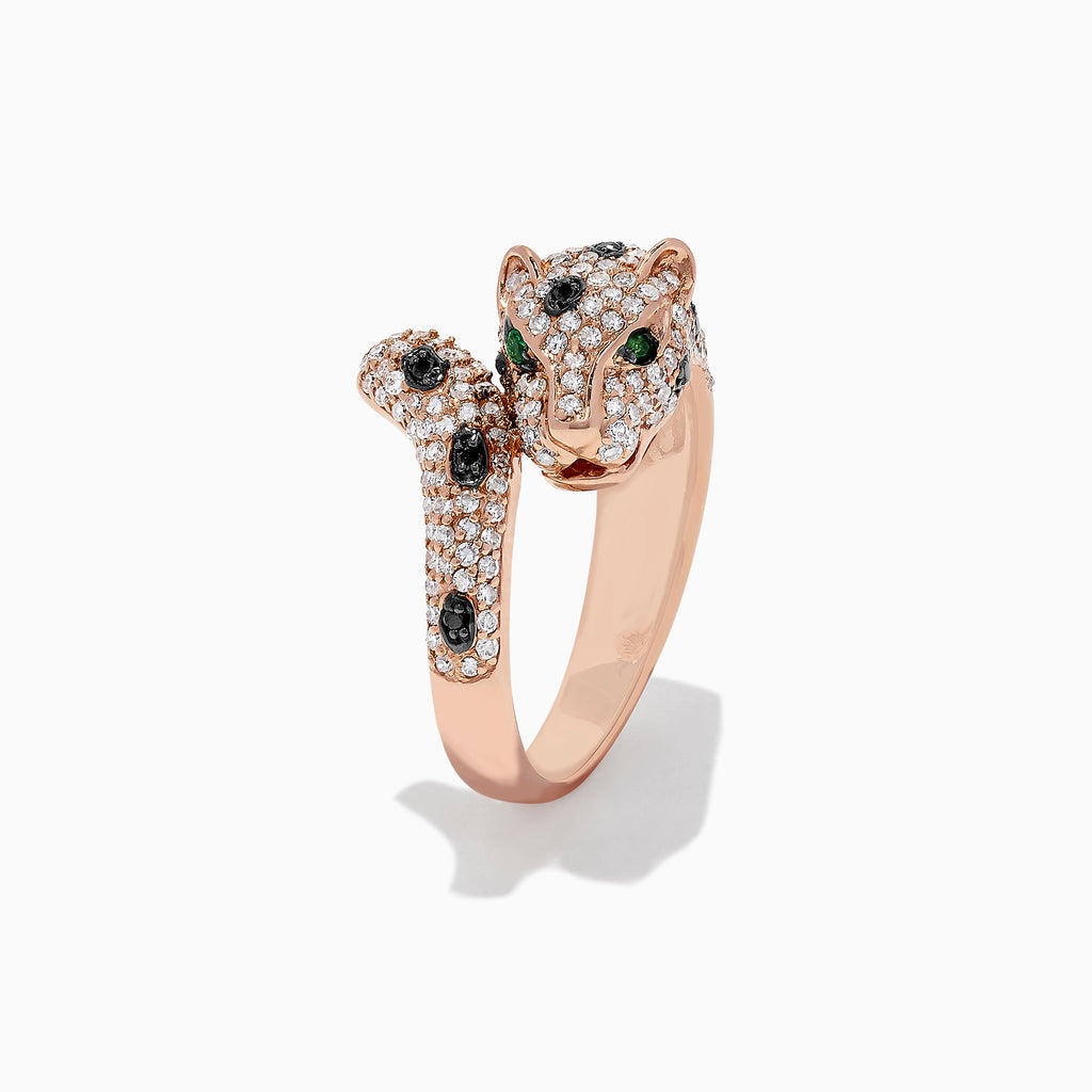 Effy Signature 14K Rose Gold Diamond & Emerald Panther Ring, 0.95 TCW