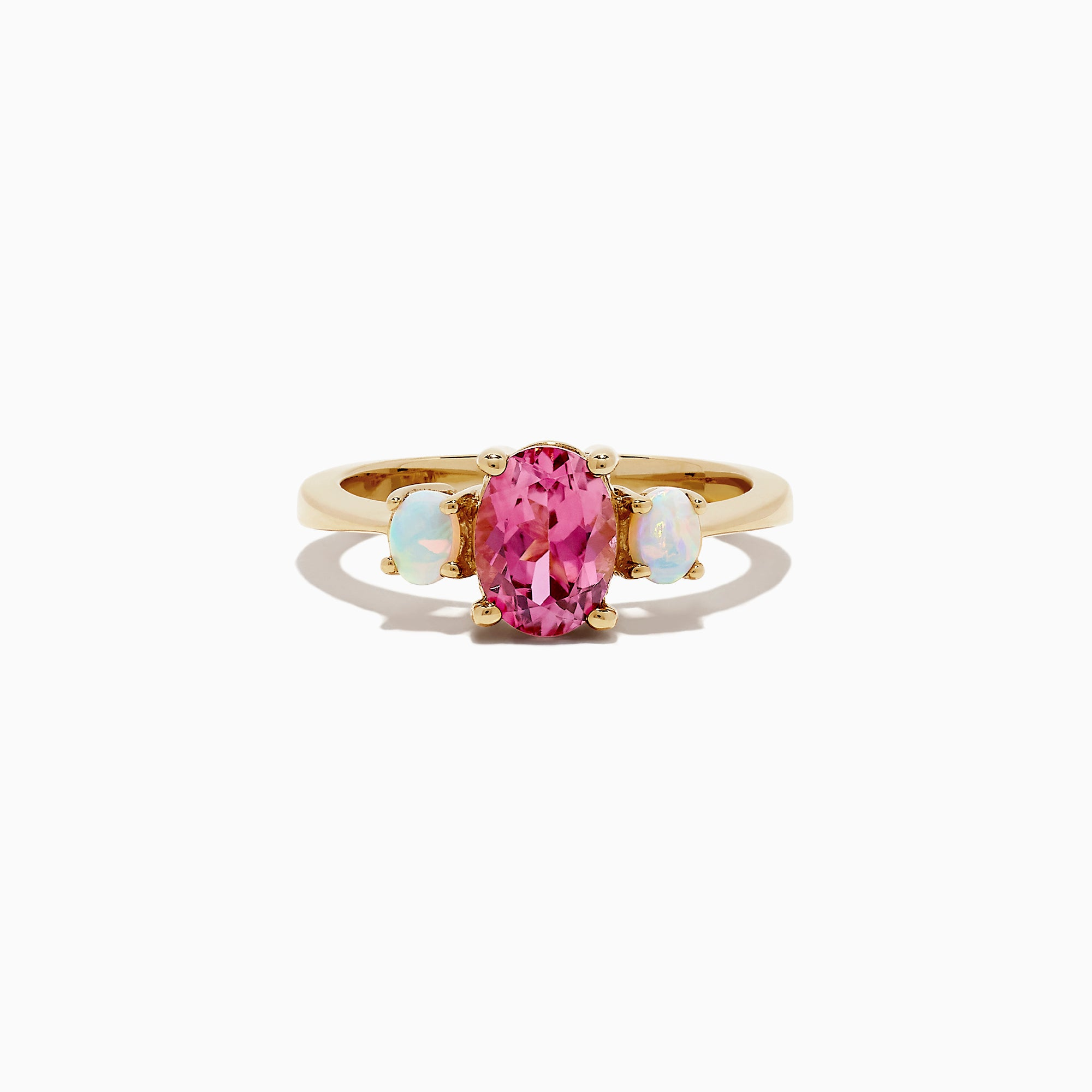 Effy 14K Yellow Gold Pink Tourmaline and Opal Three Stone Ring, 1.75 TCW