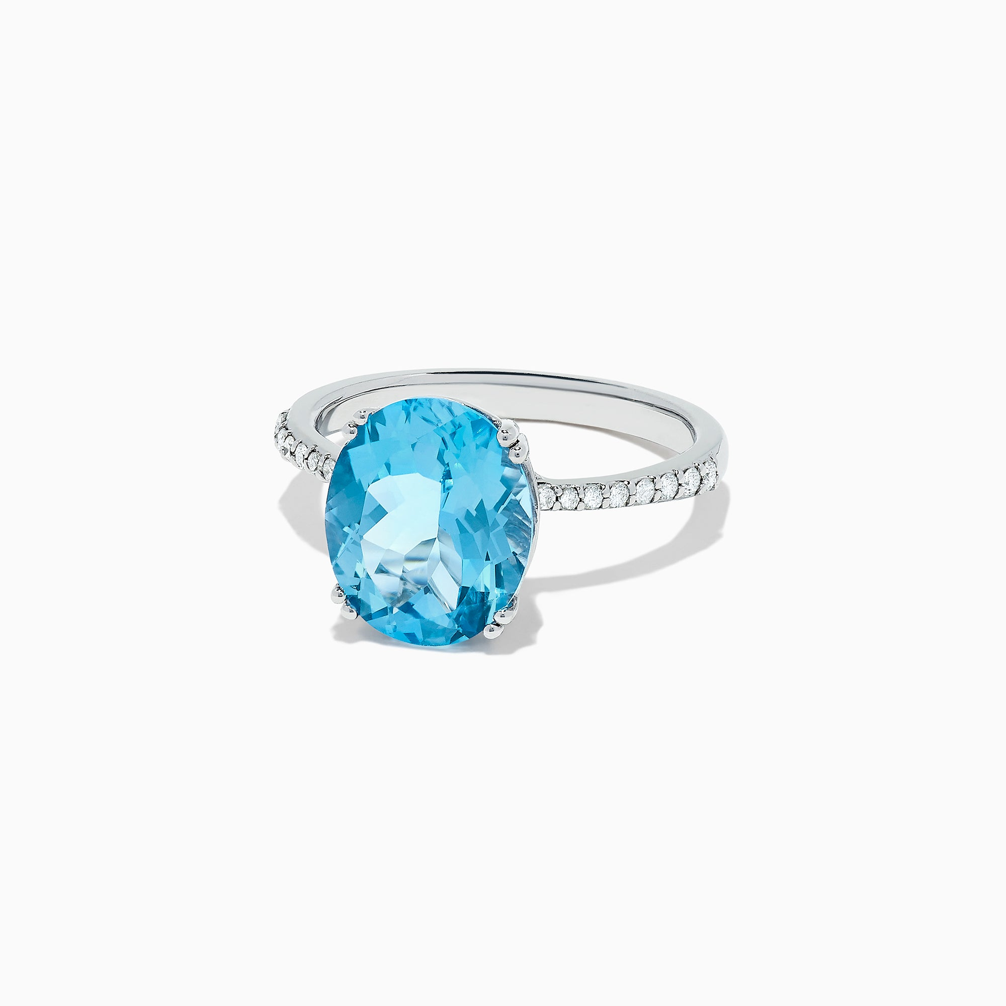 Effy 14K White Gold Blue Topaz and Diamond Cocktail Ring, 6.04 TCW