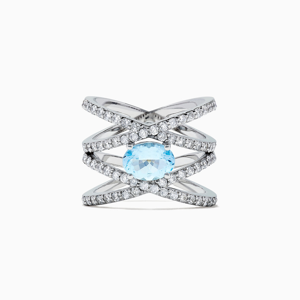 Effy Aquarius 14K White Gold Aquamarine and Diamond Ring, 2.25 TCW
