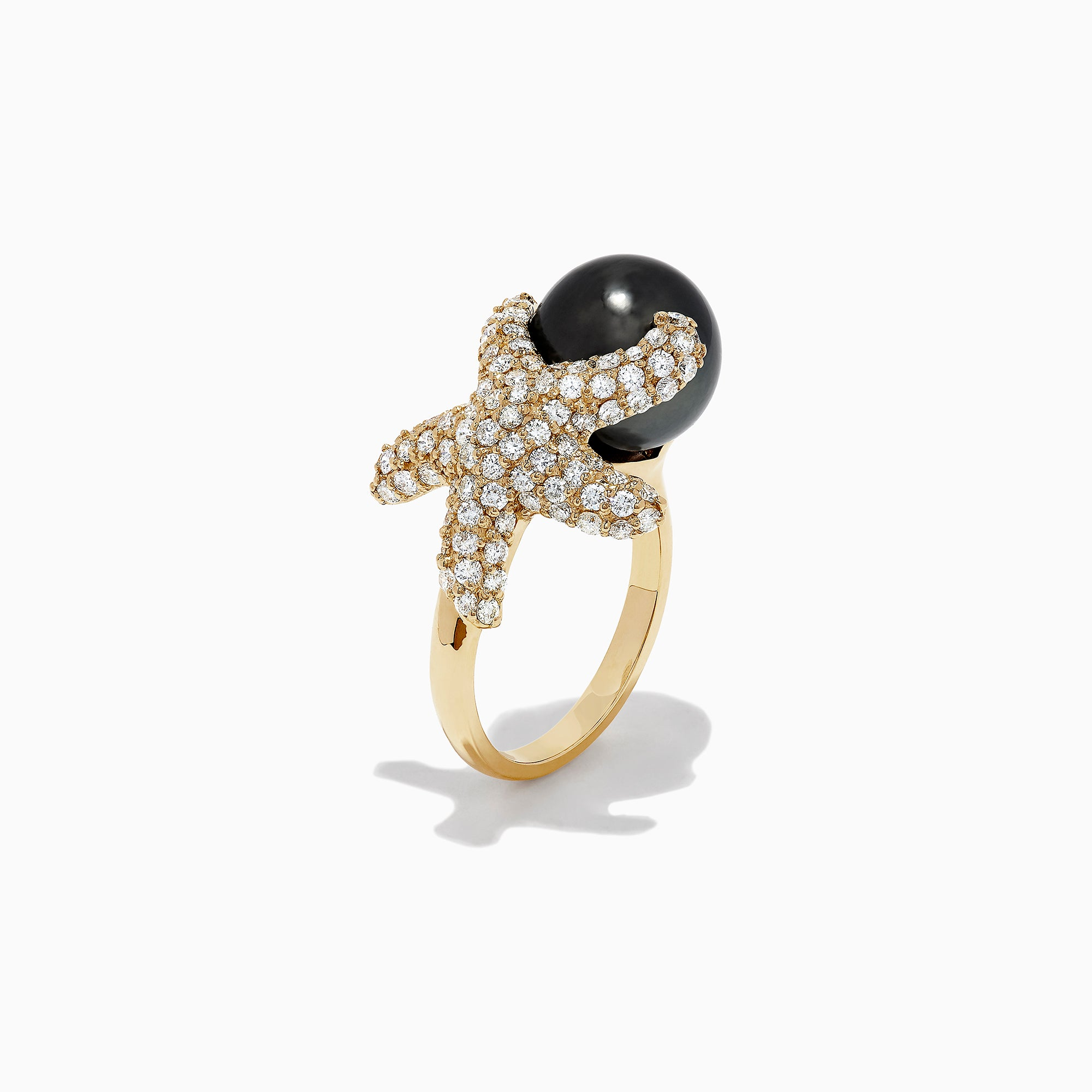 Effy Seaside 14K Gold Cultured Pearl & Diamond Starfish Ring, 1.30 TCW