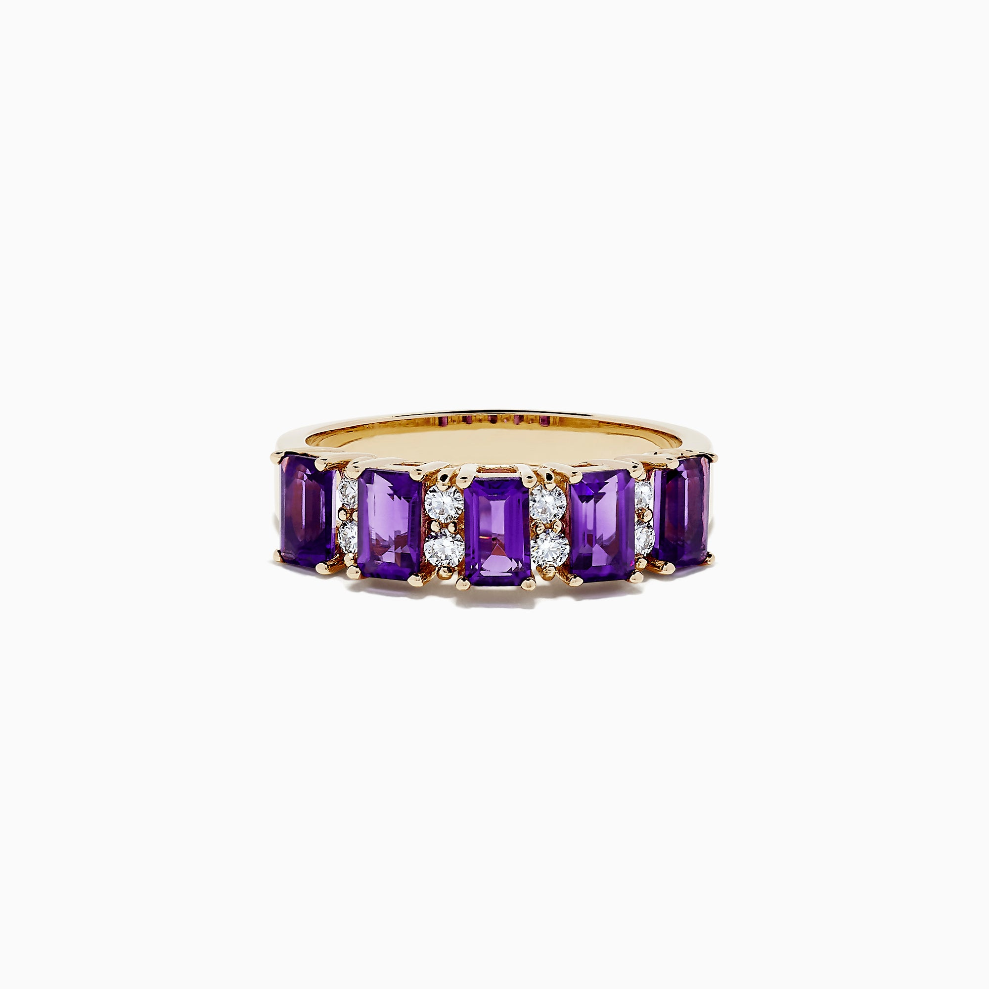 Effy 14K Yellow Gold Amethyst and Diamond Ring, 1.14 TCW