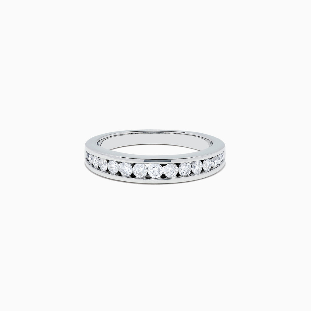 Effy Pave Classica 14K White Gold Channel Set Diamond Ring, 0.48 TCW