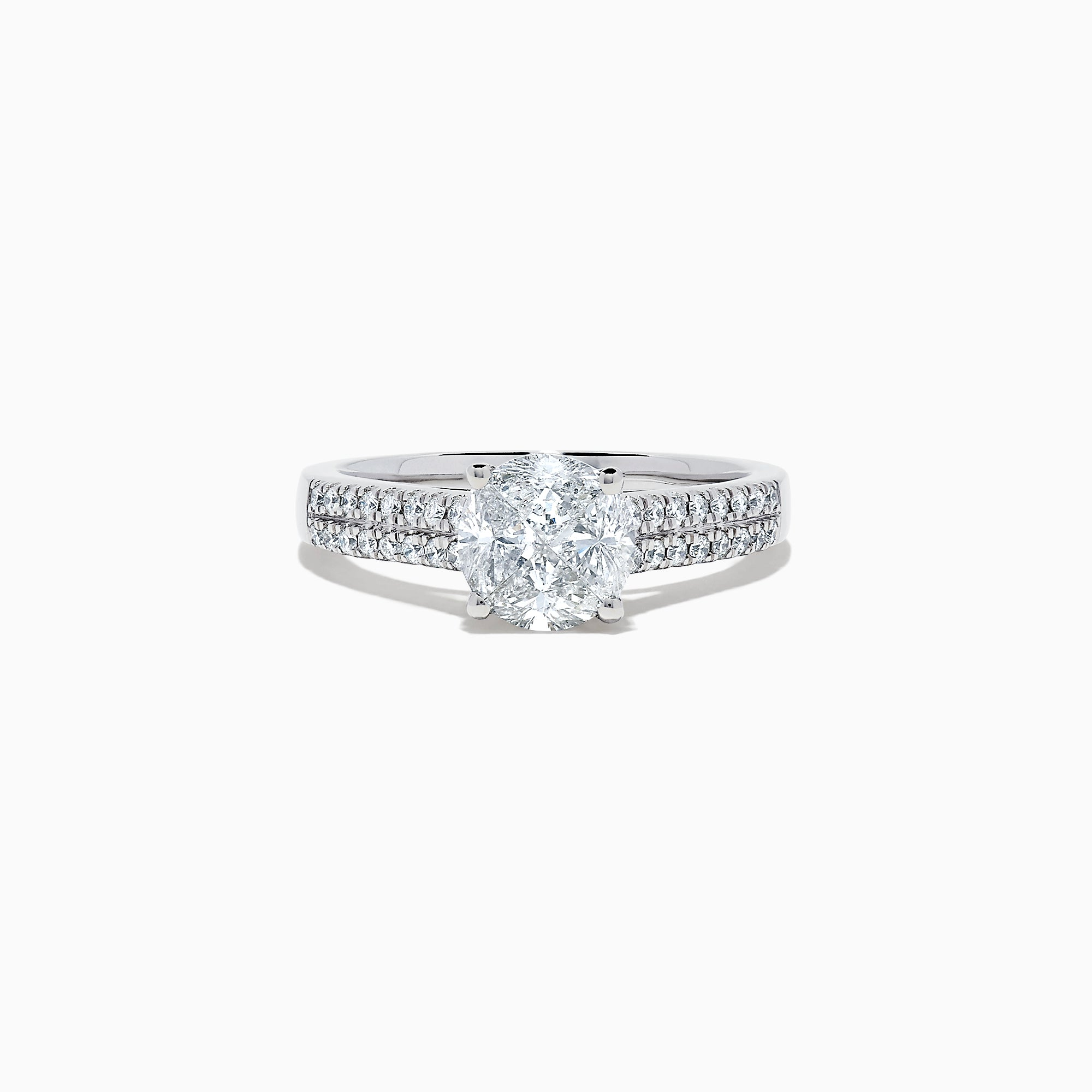 Effy Bridal 14K White Gold Diamond Ring and Matching Band Set, 1.31 TCW