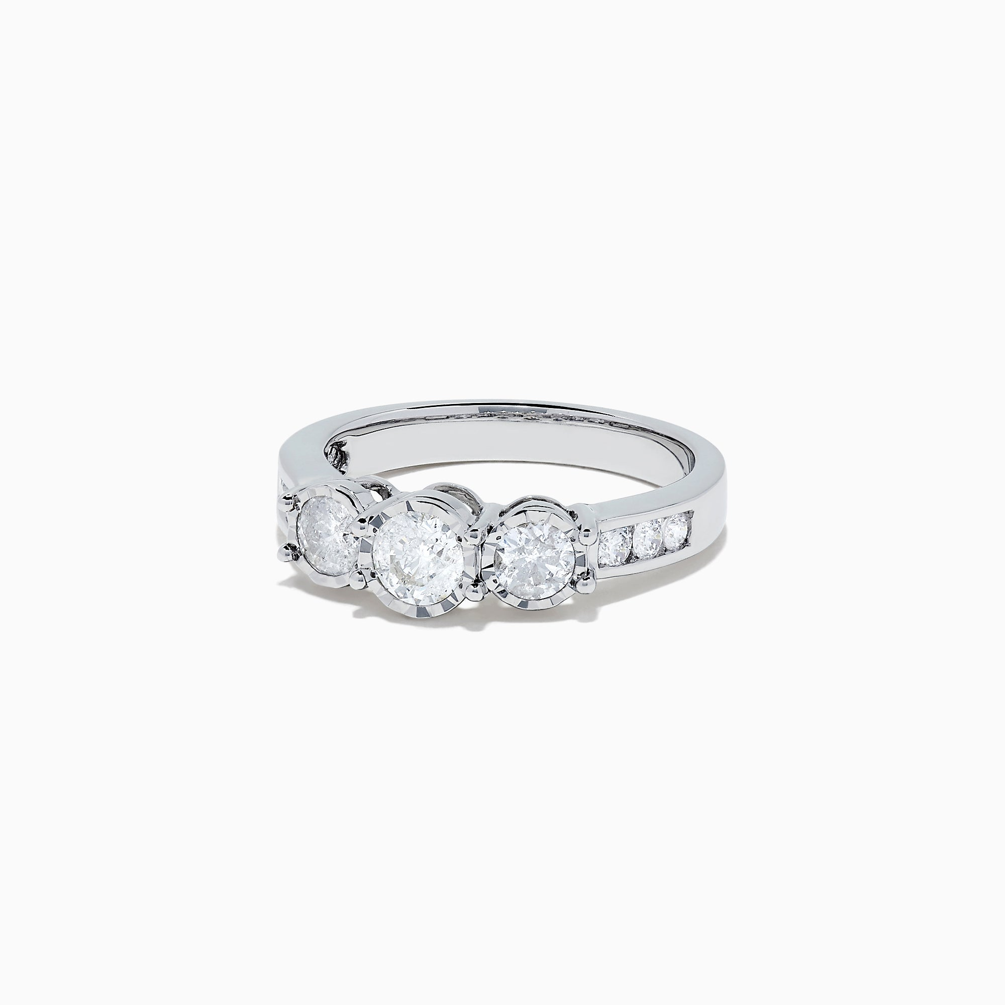 Effy Bridal 14K White Gold 3-Stone Diamond Ring, 0.95 TCW