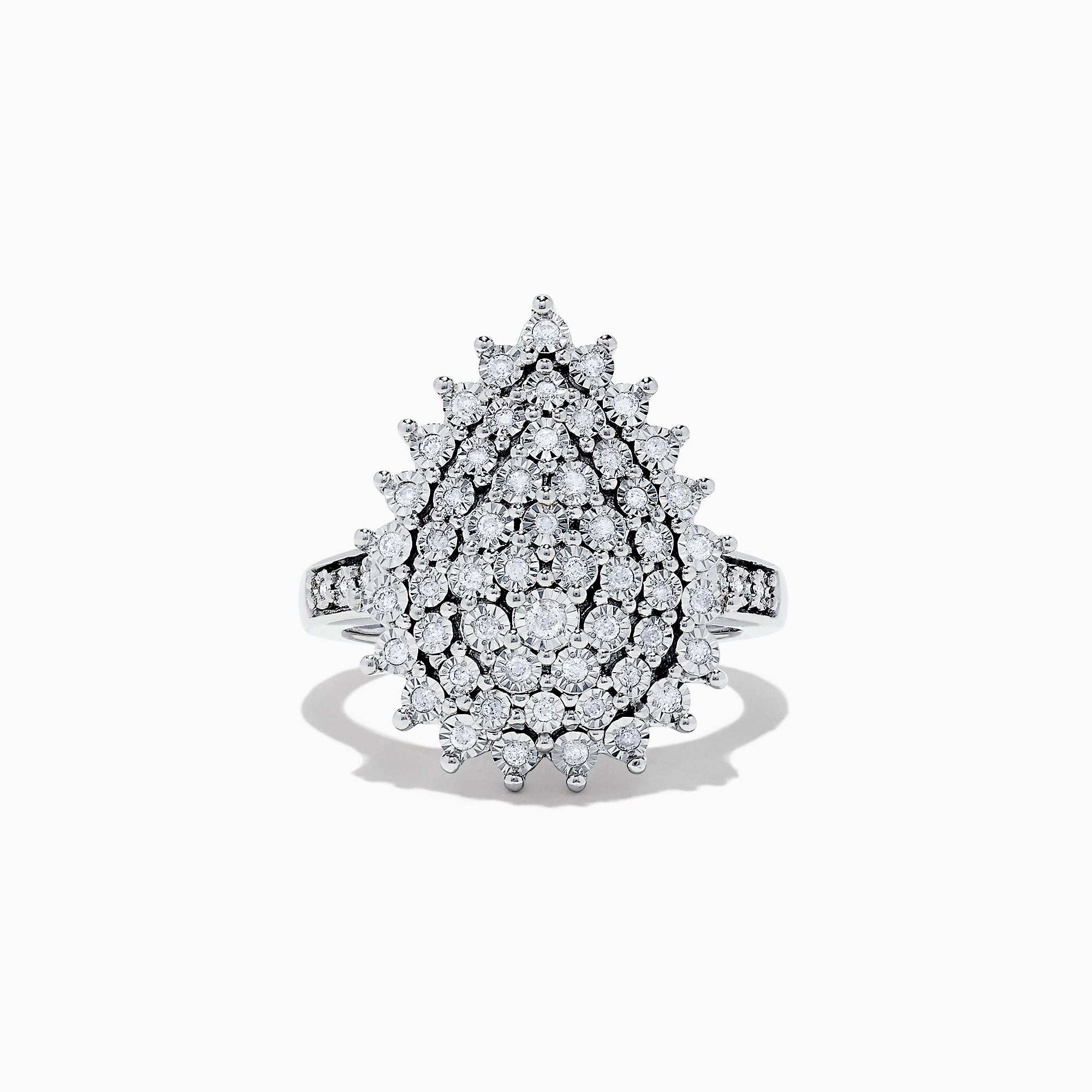 Effy 925 Sterling Silver Diamond Cluster Ring, 0.28 TCW