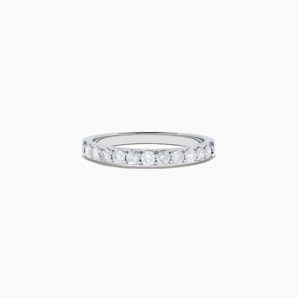 Effy Pave Classica 14K White Gold Prong Set Diamond Band, 0.49 TCW