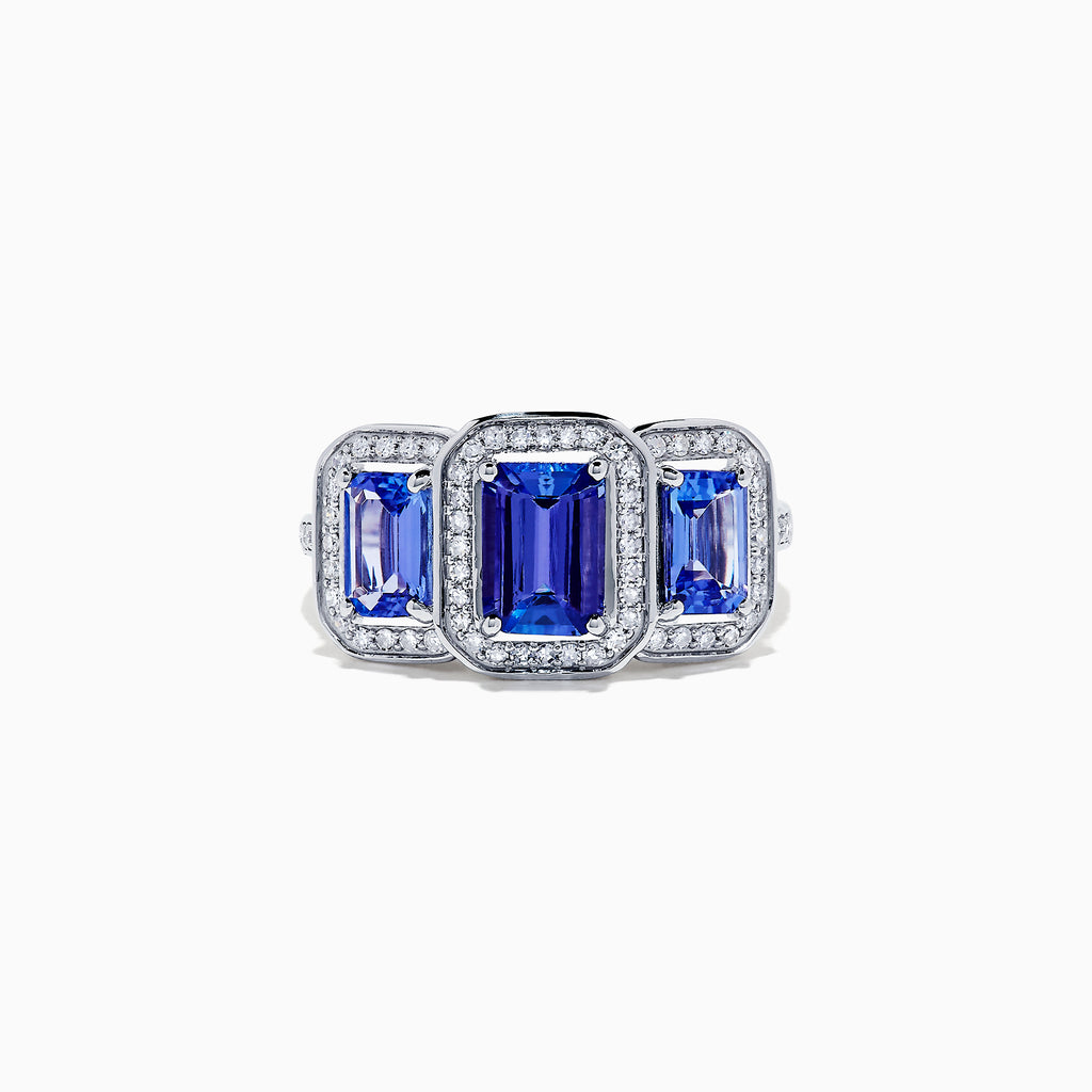 Effy Tanzanite Royale 14K White Gold Tanzanite and Diamond Ring, 2.27 TCW