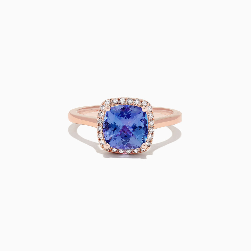 Effy Tanzanite Royale 14K Rose Gold Tanzanite and Diamond Ring, 2.32 TCW