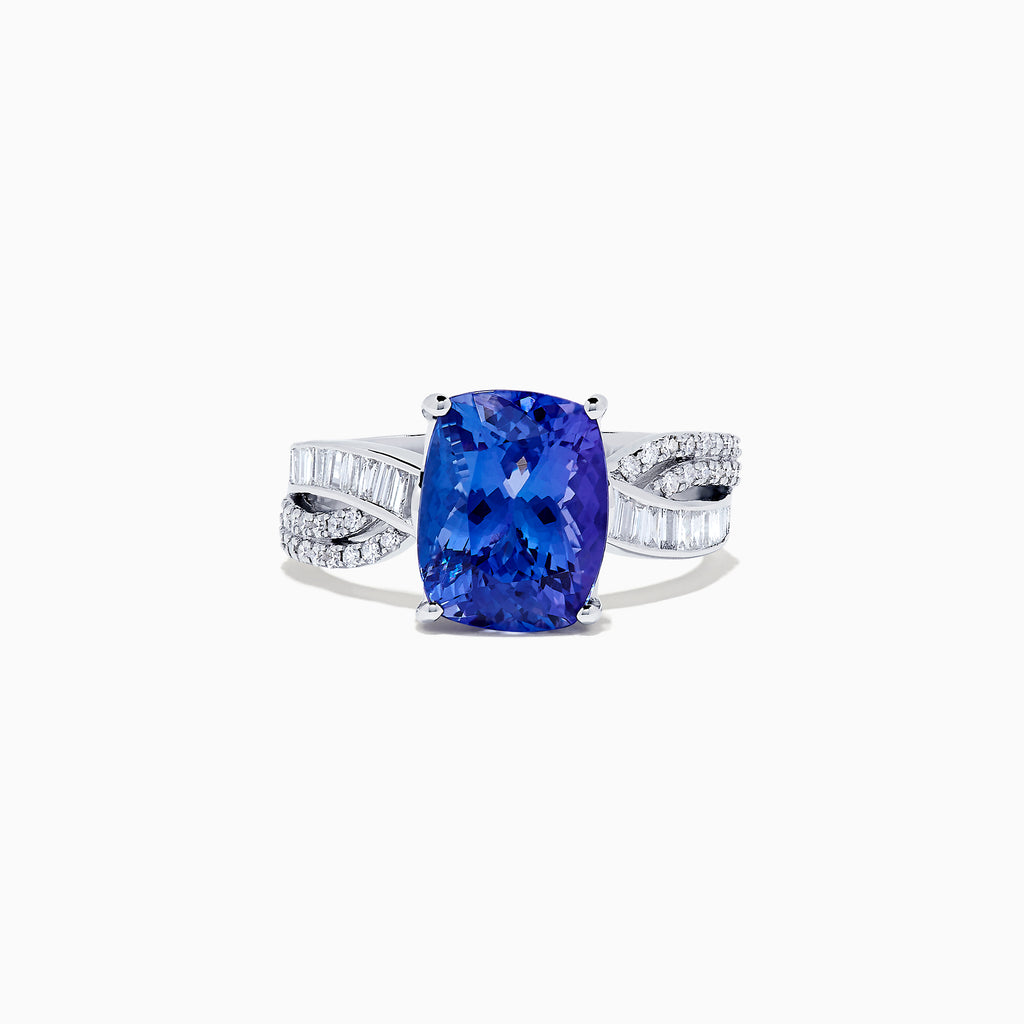 Effy Tanzanite Royale 14K White Gold Tanzanite and Diamond Ring, 4.30 TCW