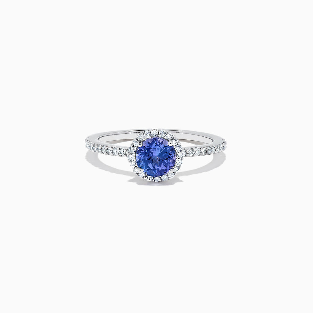 Effy Tanzanite Royale 14K White Gold Tanzanite and Diamond Ring, 1.08 TCW