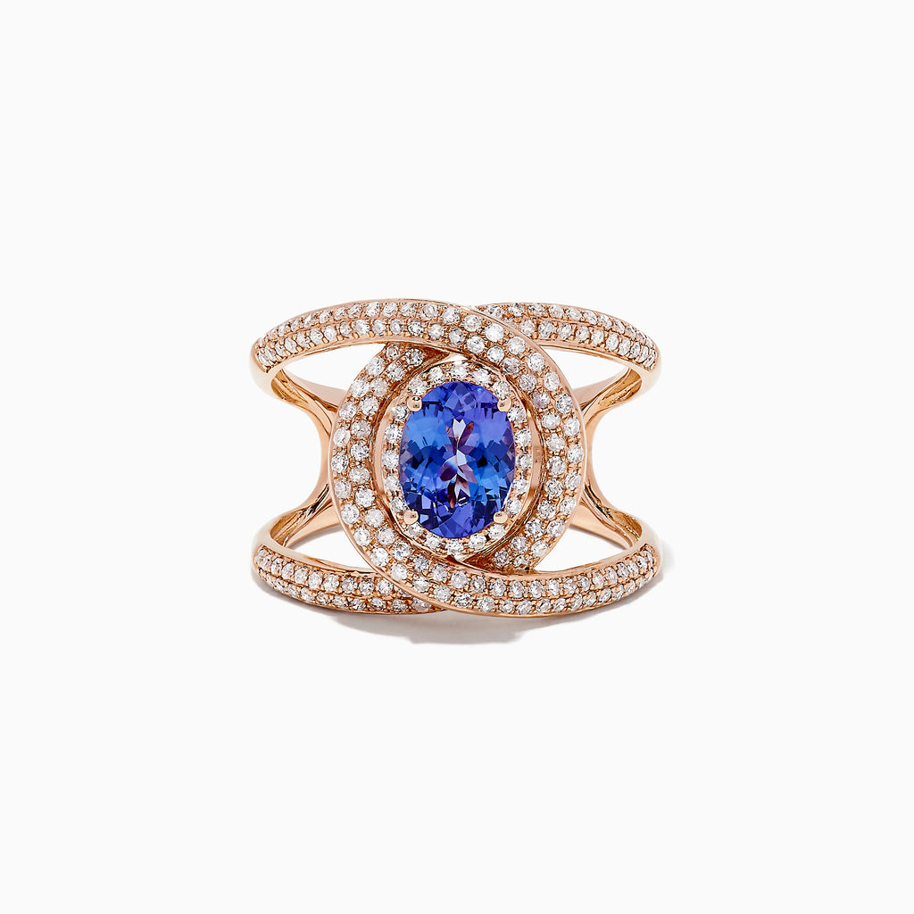 Effy Tanzanite Royale 14K Rose Gold Tanzanite and Diamond Ring, 1.73 TCW