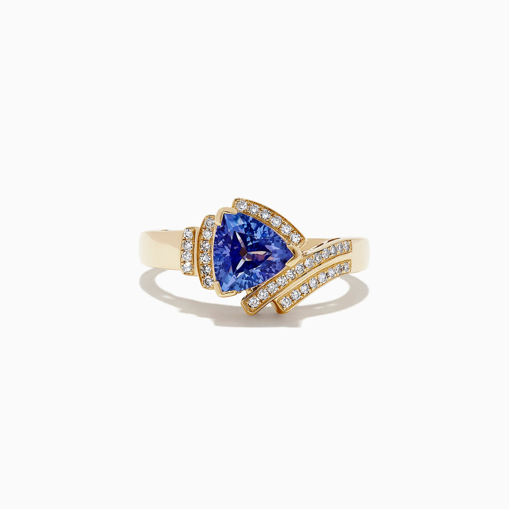 Effy Tanzanite Royale 14K Yellow Gold Tanzanite and Diamond Ring, 1.23 TCW