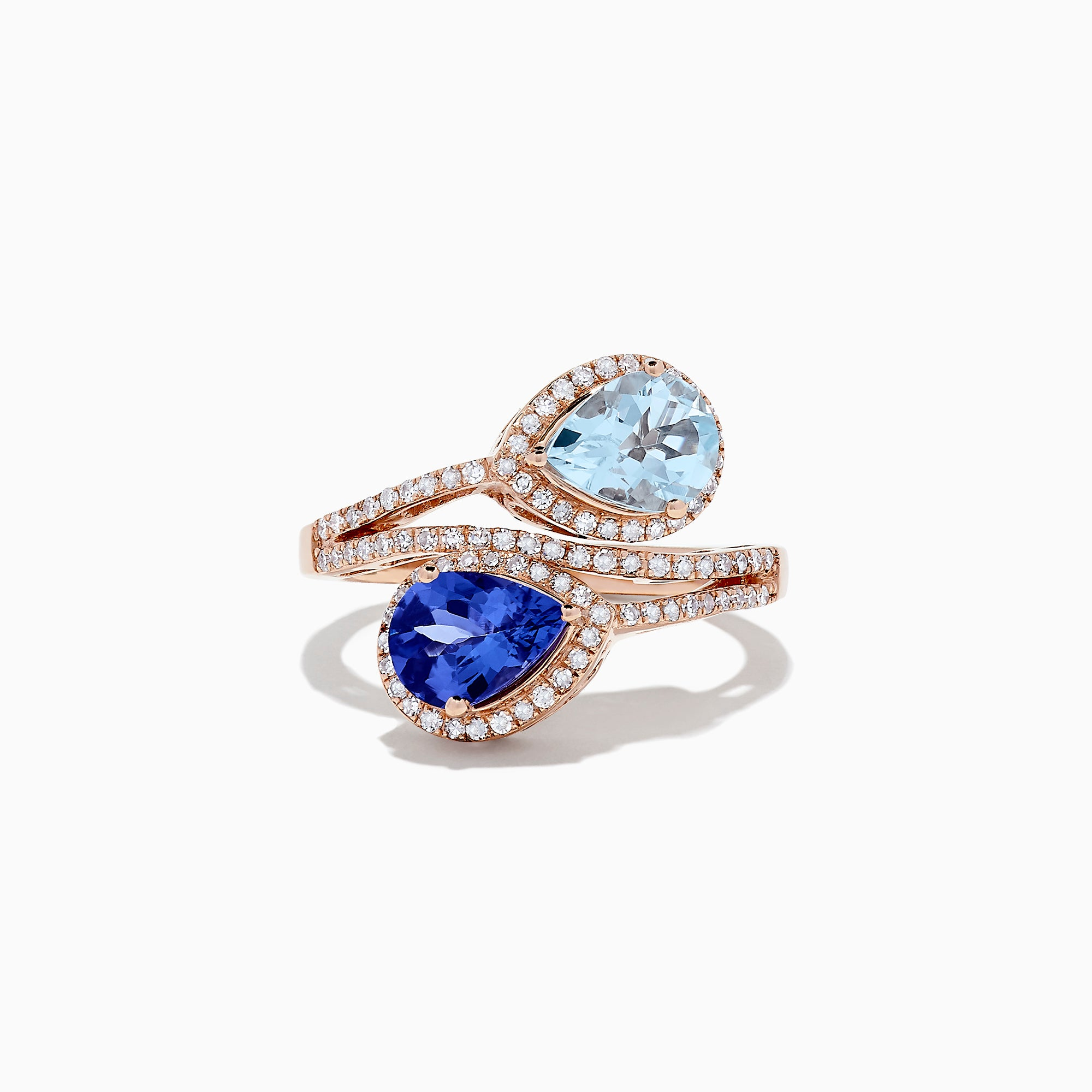 Effy 14K Rose Gold Tanzanite, Aquamarine and Diamond Ring, 2.34 TCW