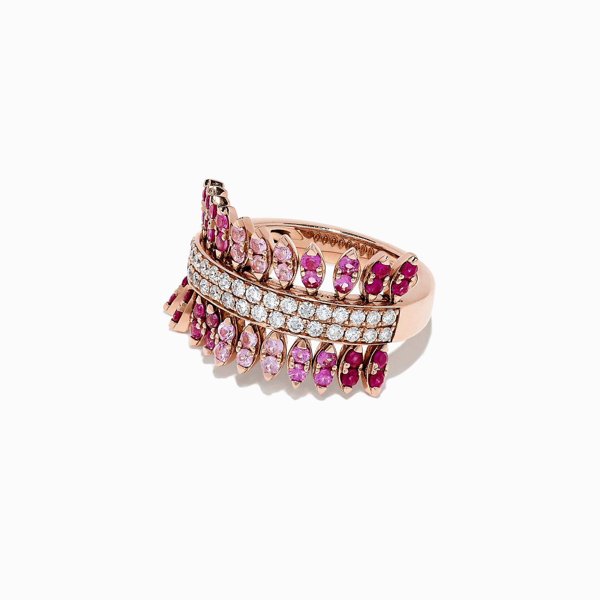 Effy 14K Rose Gold Pink Sapphire, Ruby and Diamond Ring, 1.66 TCW